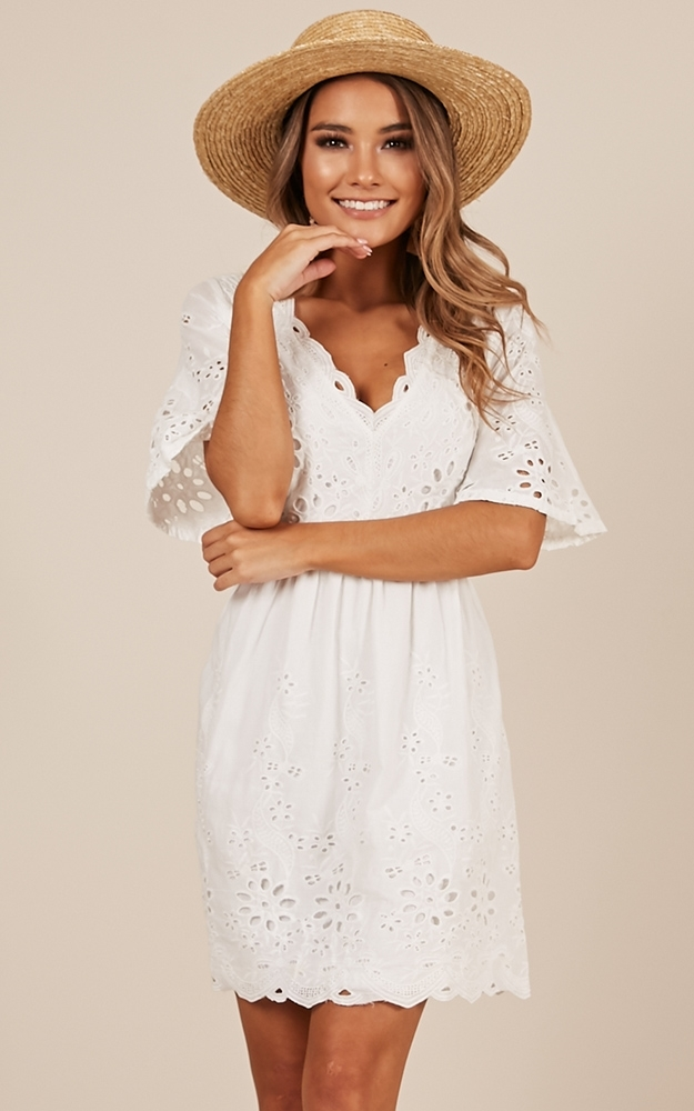 Ribbon In The Sky dress in white - 6 (XS), White, hi-res image number null