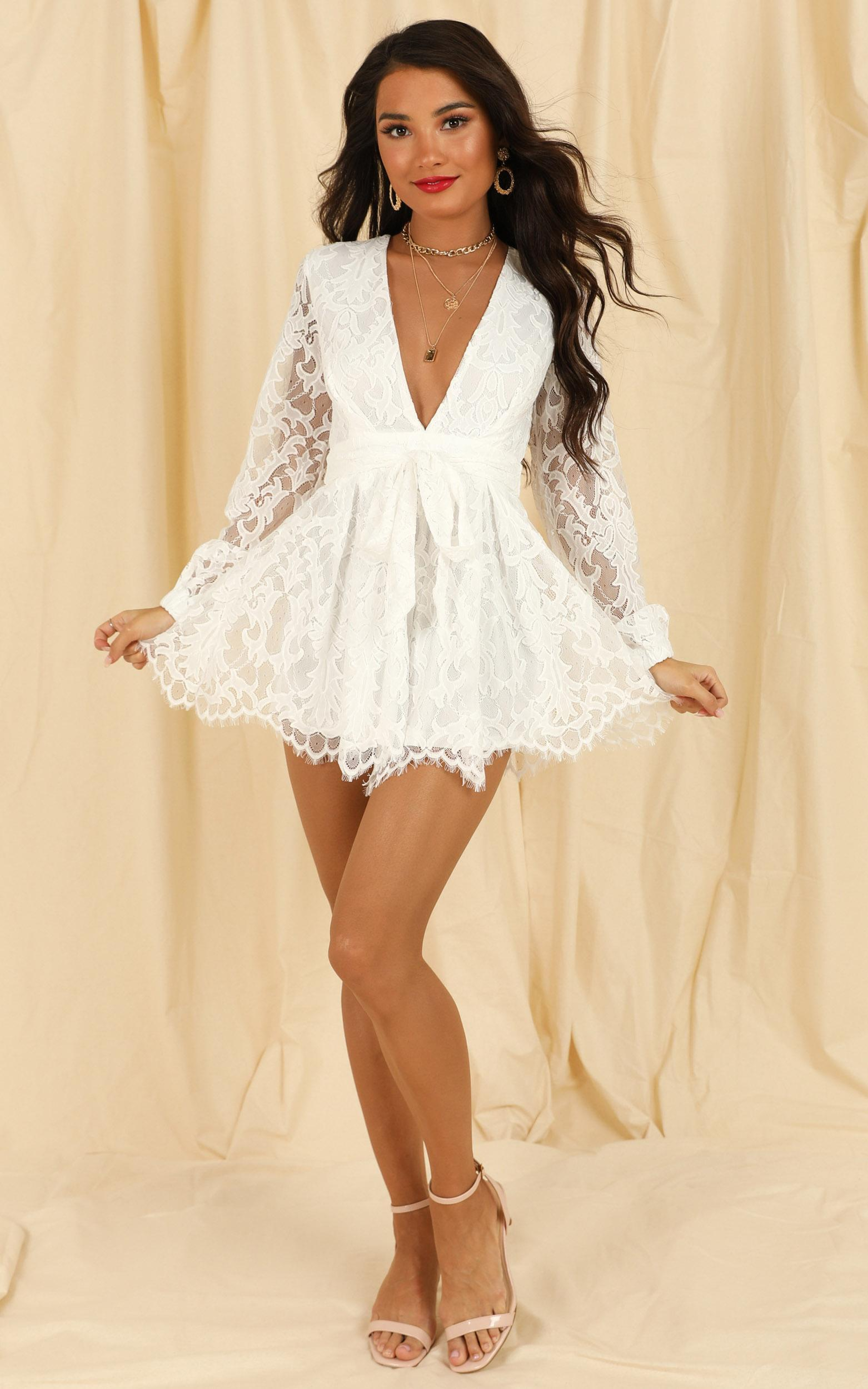 Come Go With Me Playsuit in white lace - 4 (XXS), White, hi-res image number null