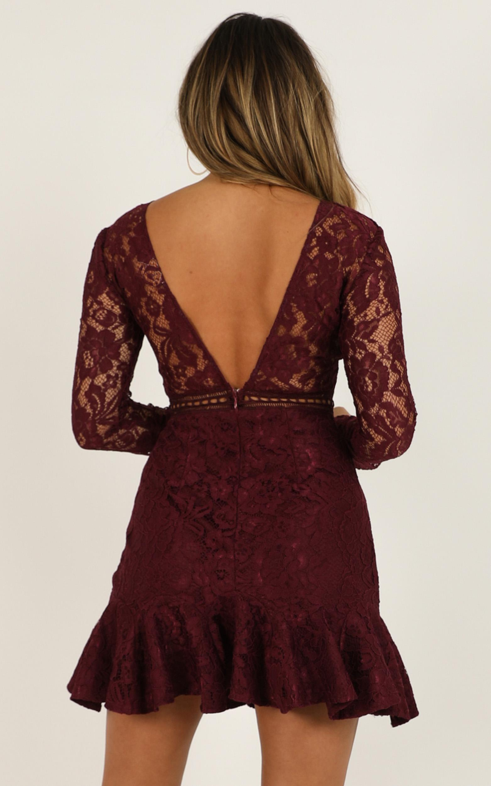 I Belong Dress in wine lace - 20 (XXXXL), Wine, hi-res image number null