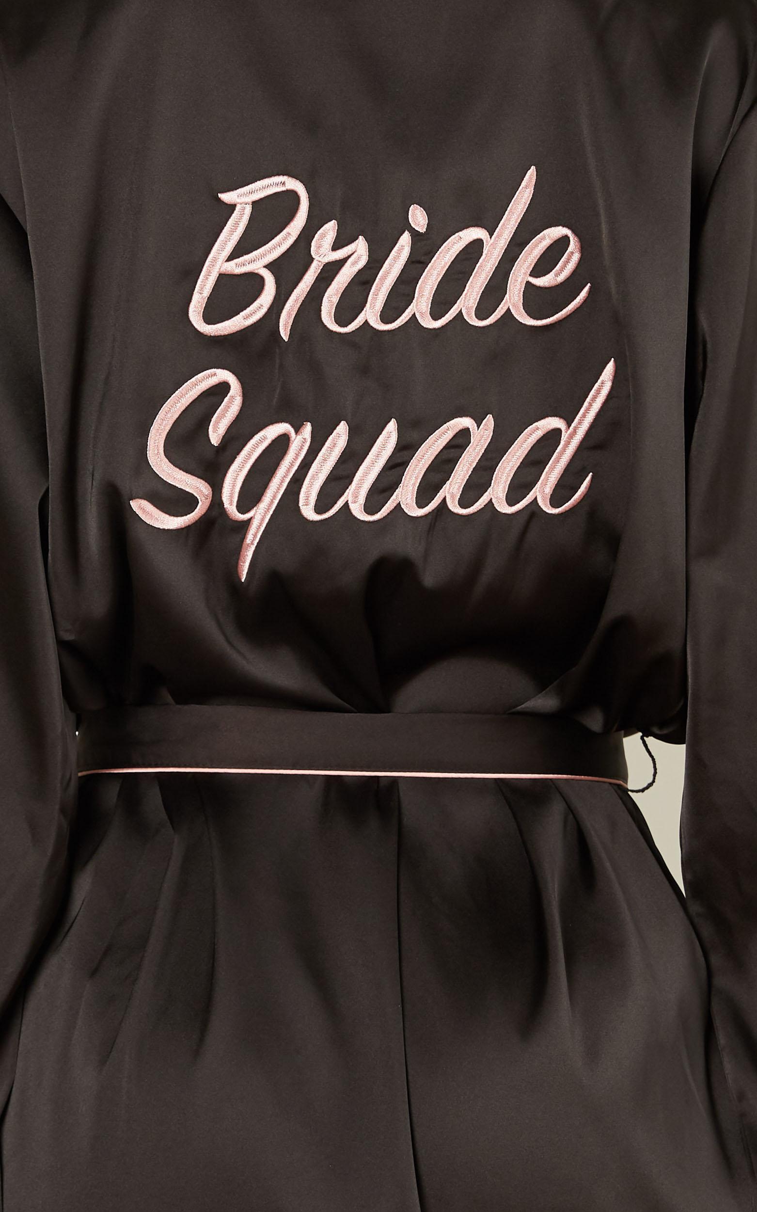 Ellena Bridesmaid Robe in black satin - 4 (XXS), Black, hi-res image number null