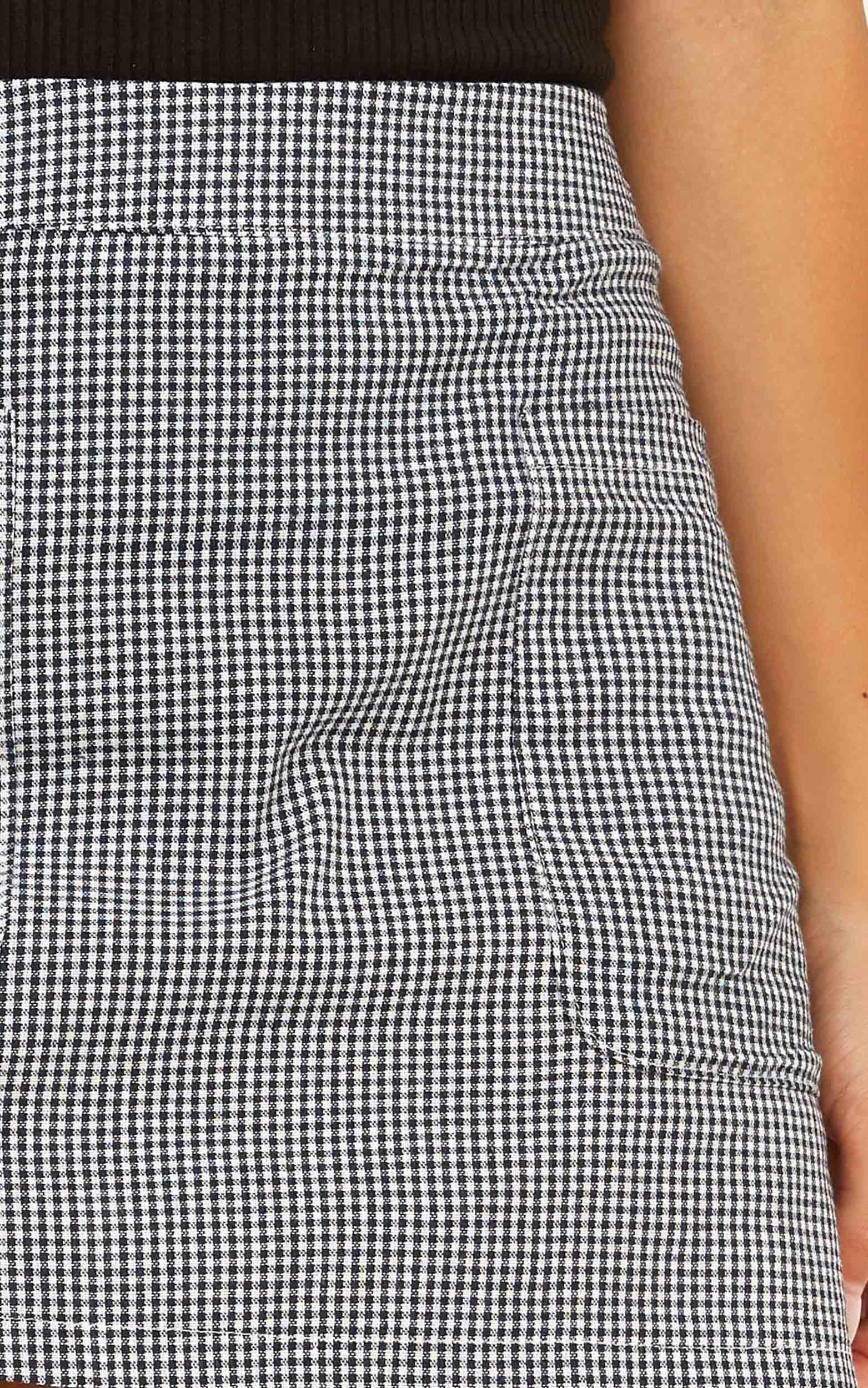 Lean On Me Skirt In Black Gingham - 4 (XXS), Black, hi-res image number null