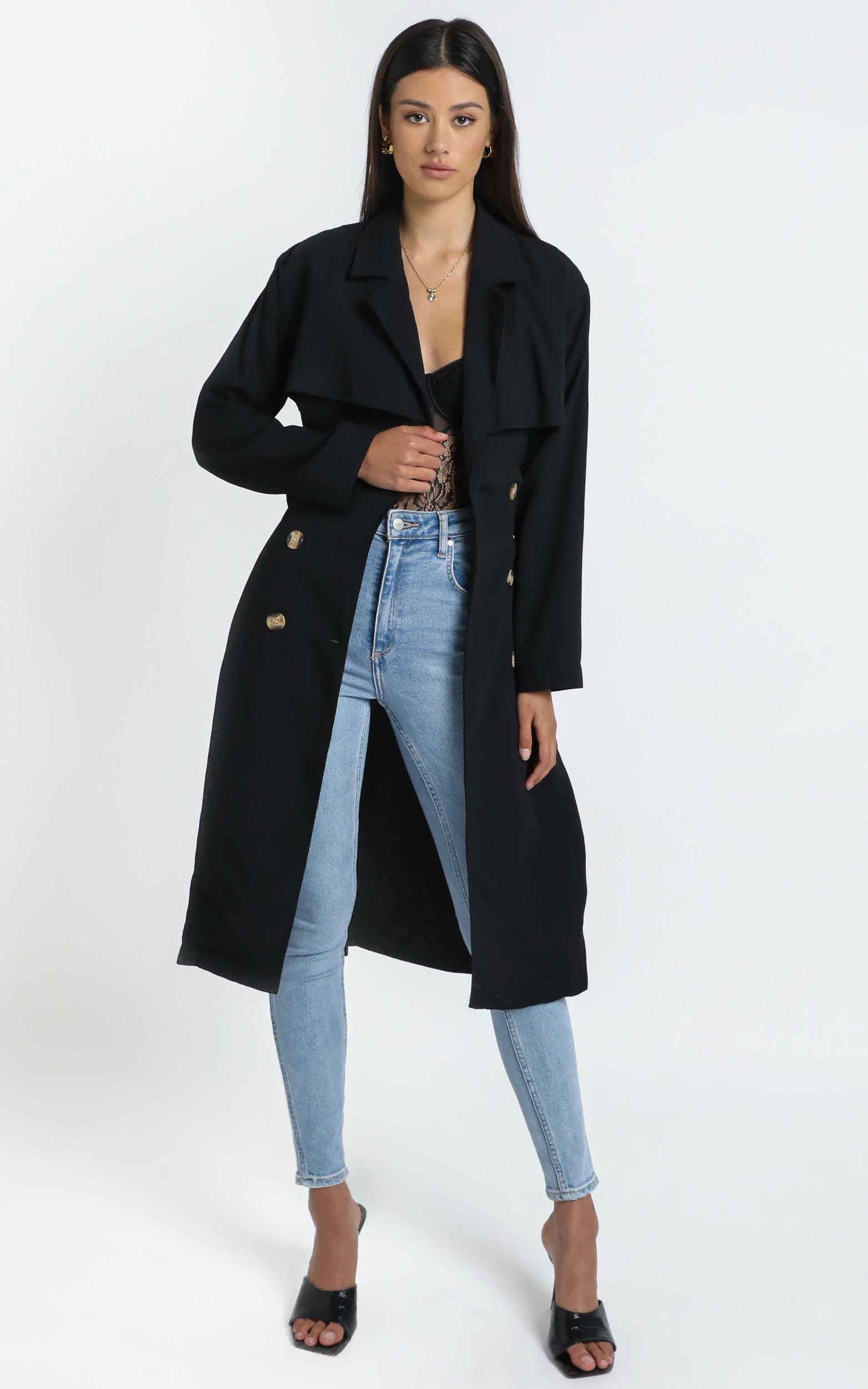 Lana Trench Coat in Black - 14 (XL), Black, hi-res image number null