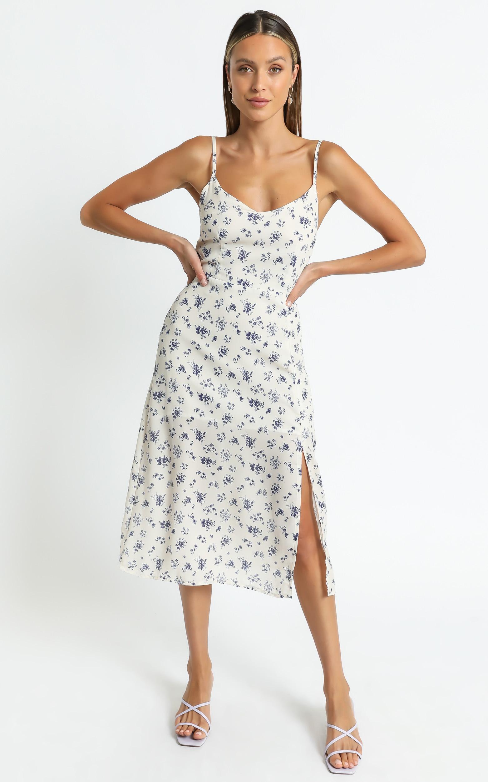 Izabella Dress in Cream Floral - 8 (S), Cream, hi-res image number null