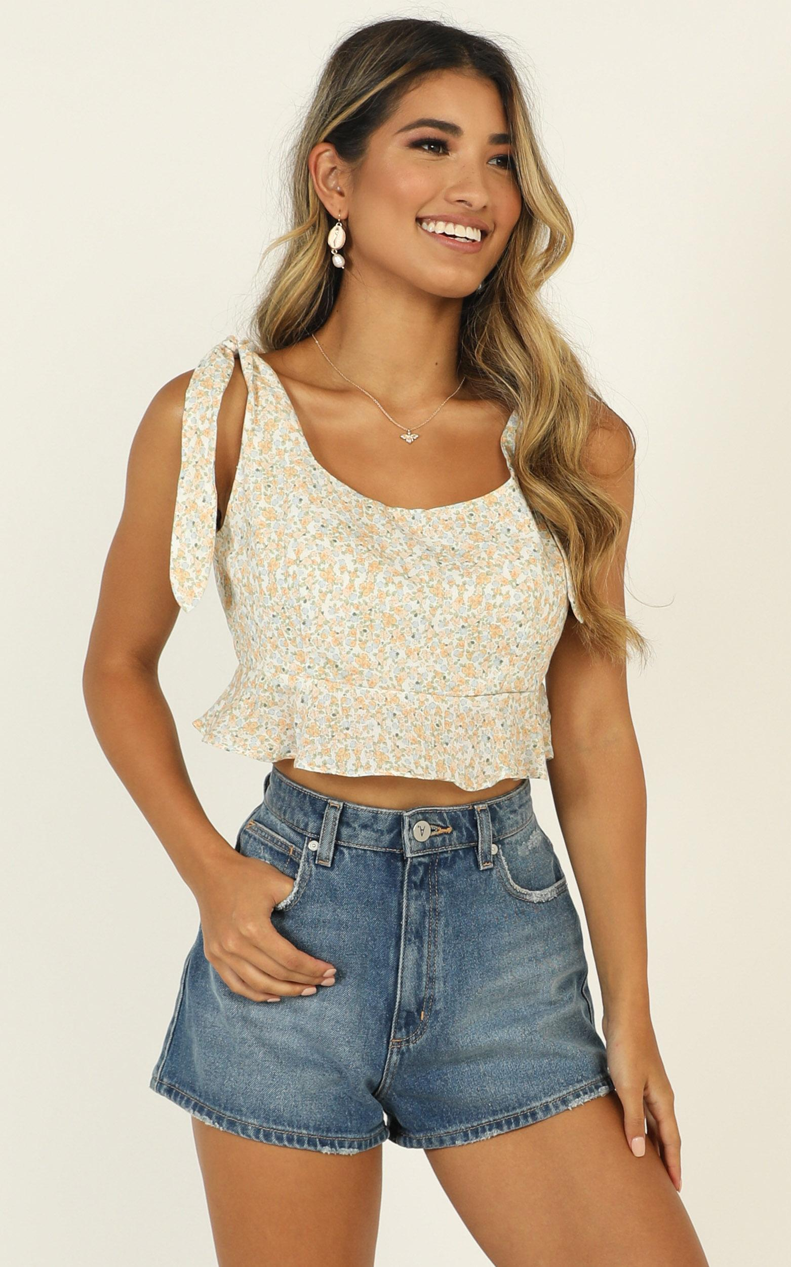 Arabella Ruffle Top in yellow floral - 12 (L), Yellow, hi-res image number null