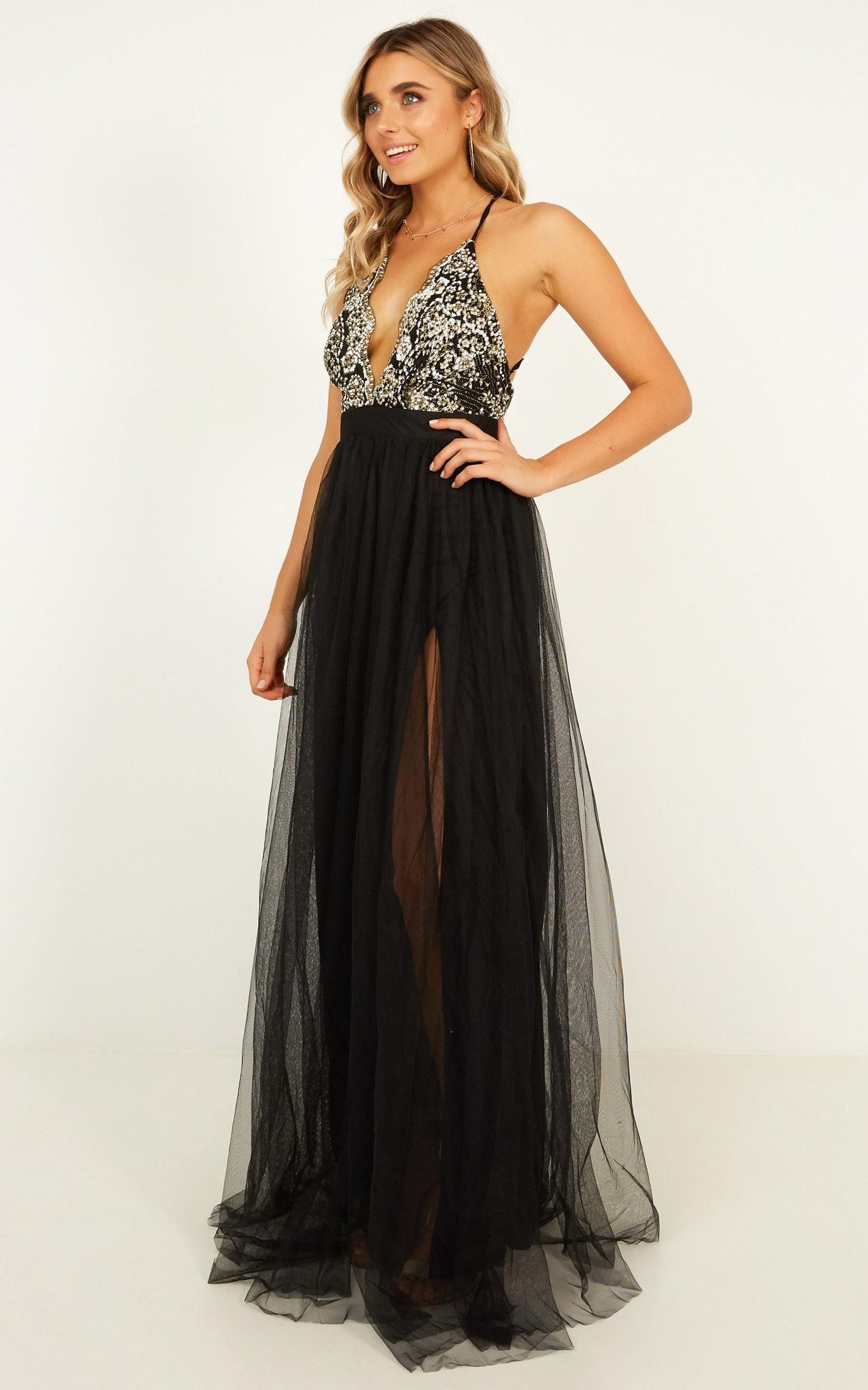 Vision of beauty maxi dress in black glitter - 12 (L), Black, hi-res image number null