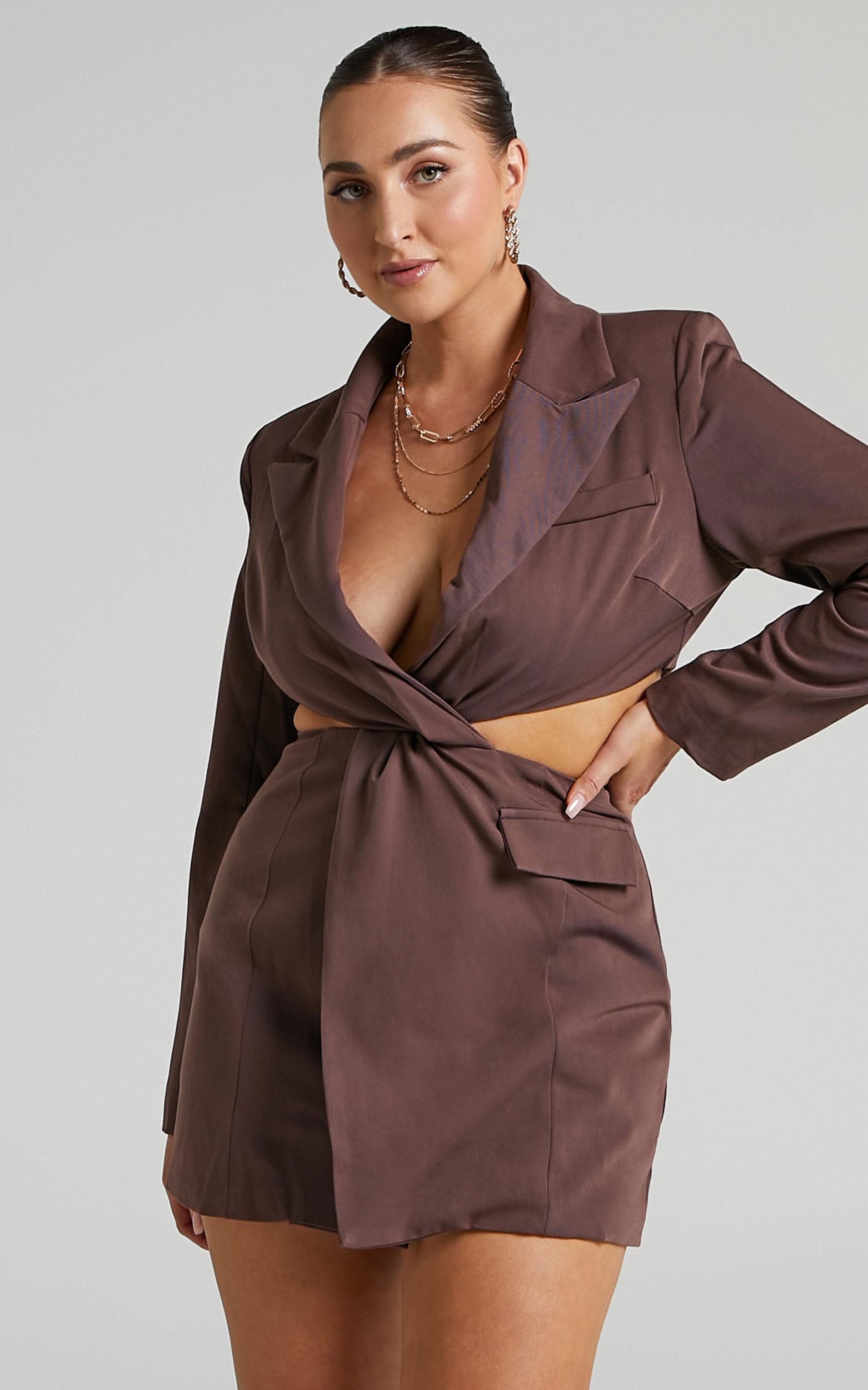 Amina Blazer Dress in Chocolate - 06, BRN3, hi-res image number null