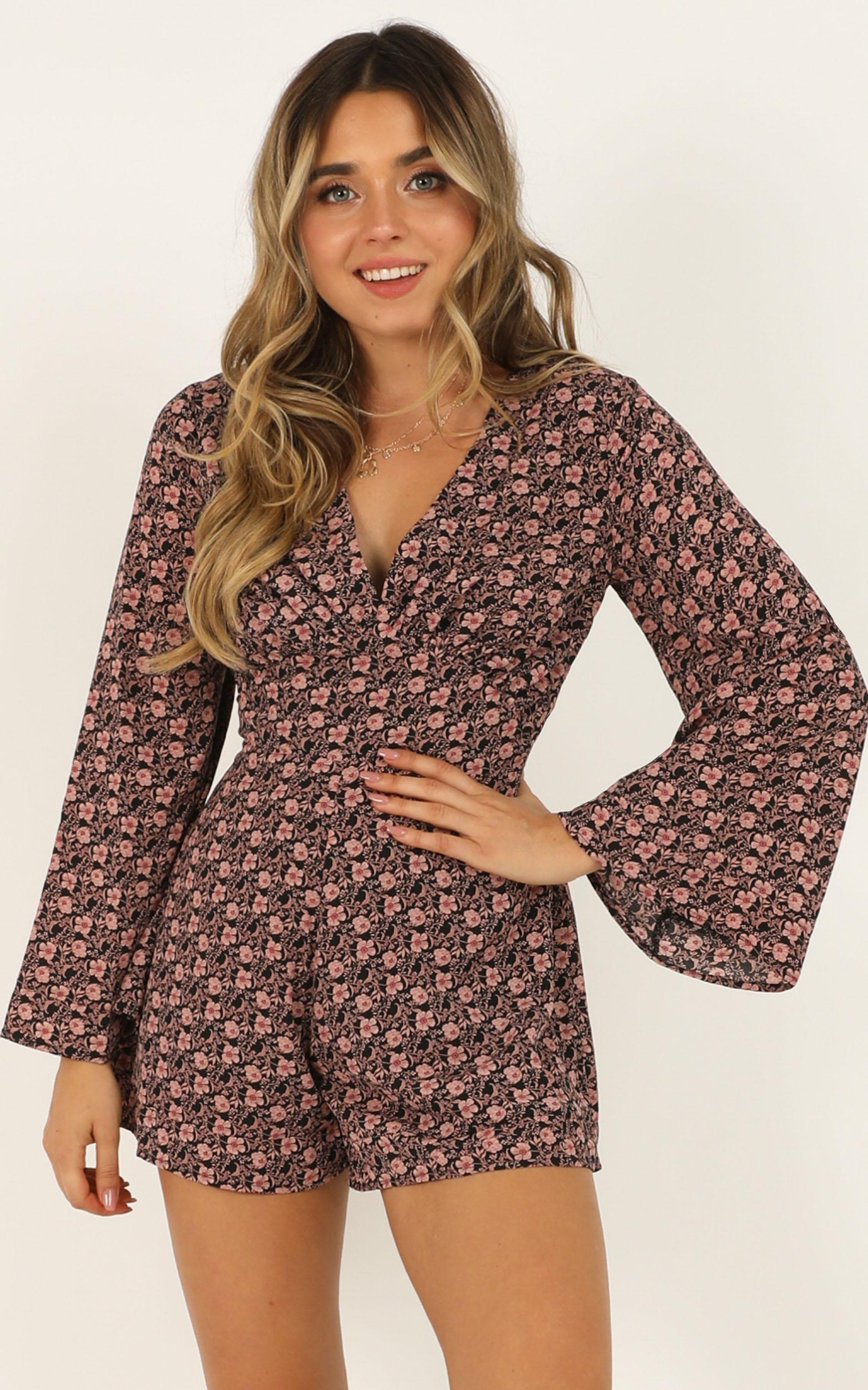 Mystery Lover Playsuit in black floral - 20 (XXXXL), Black, hi-res image number null