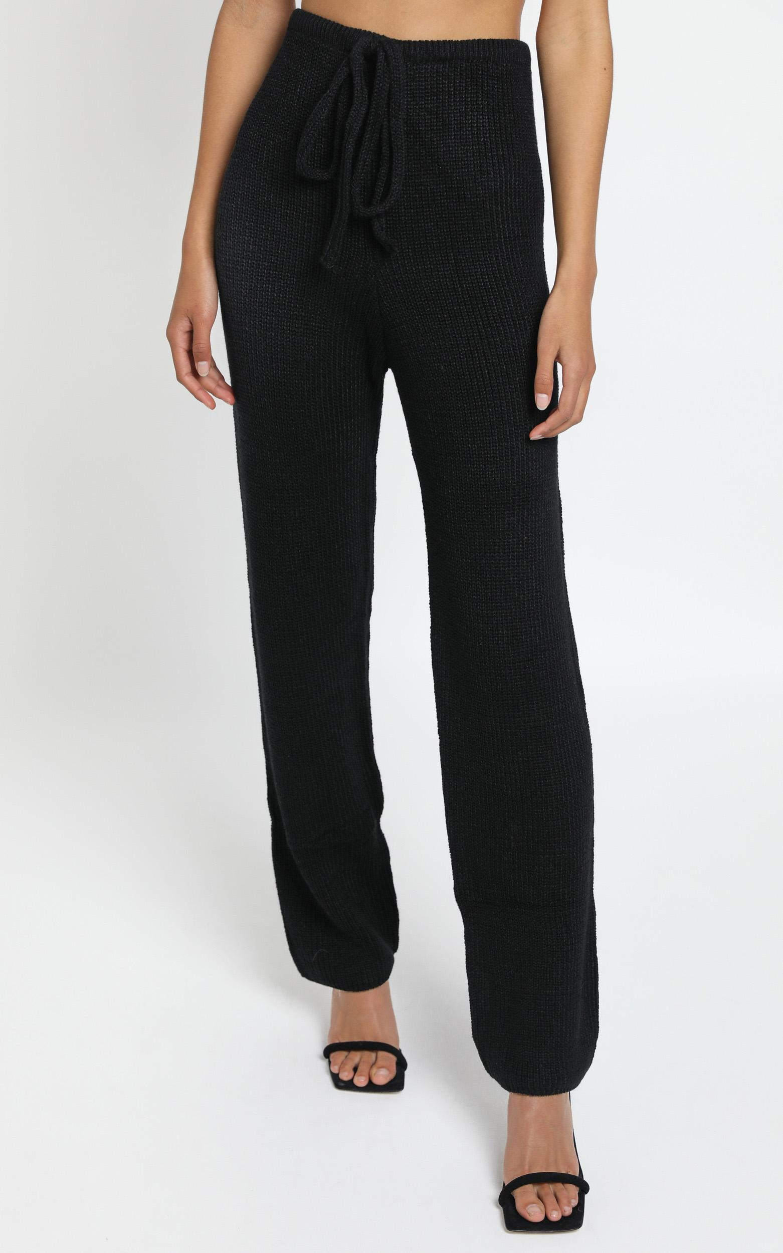 Luxe Lounge Knit Trouser in Black - M/L, BLK1, hi-res image number null