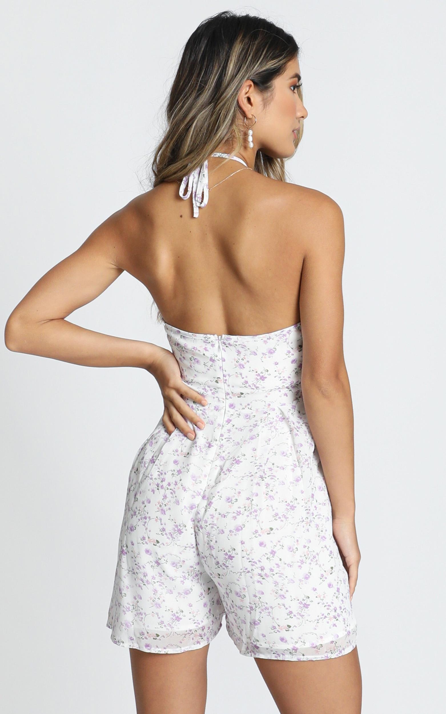 Mirror Of The Mind Playsuit in white floral - 20 (XXXXL), White, hi-res image number null