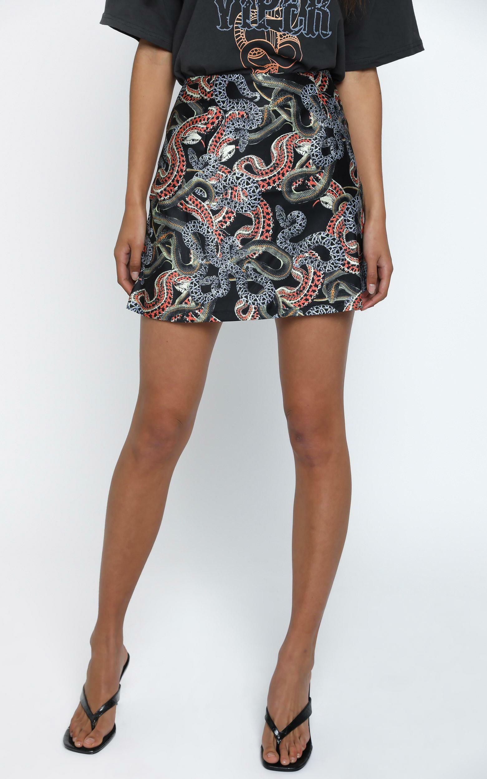 Twiin - Snakes Alive Mini Slip Skirt in Multi - 6 (XS), BLK1, hi-res image number null