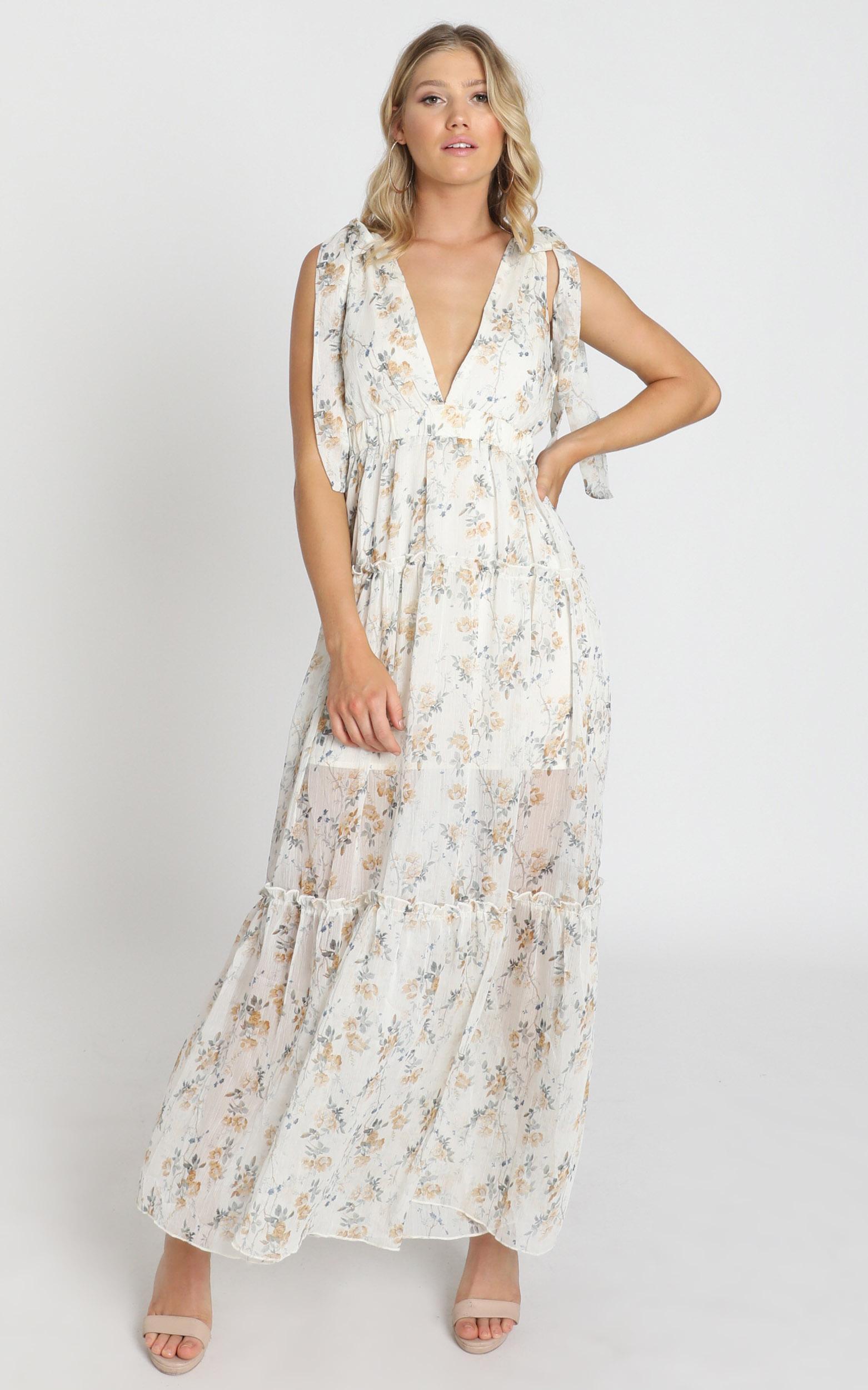Indra Dress in cream floral - 8 (S), Cream, hi-res image number null