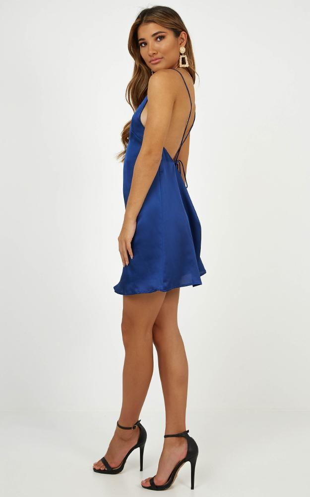 Mean So Much dress in blue satin - 6 (XS), Blue, hi-res image number null