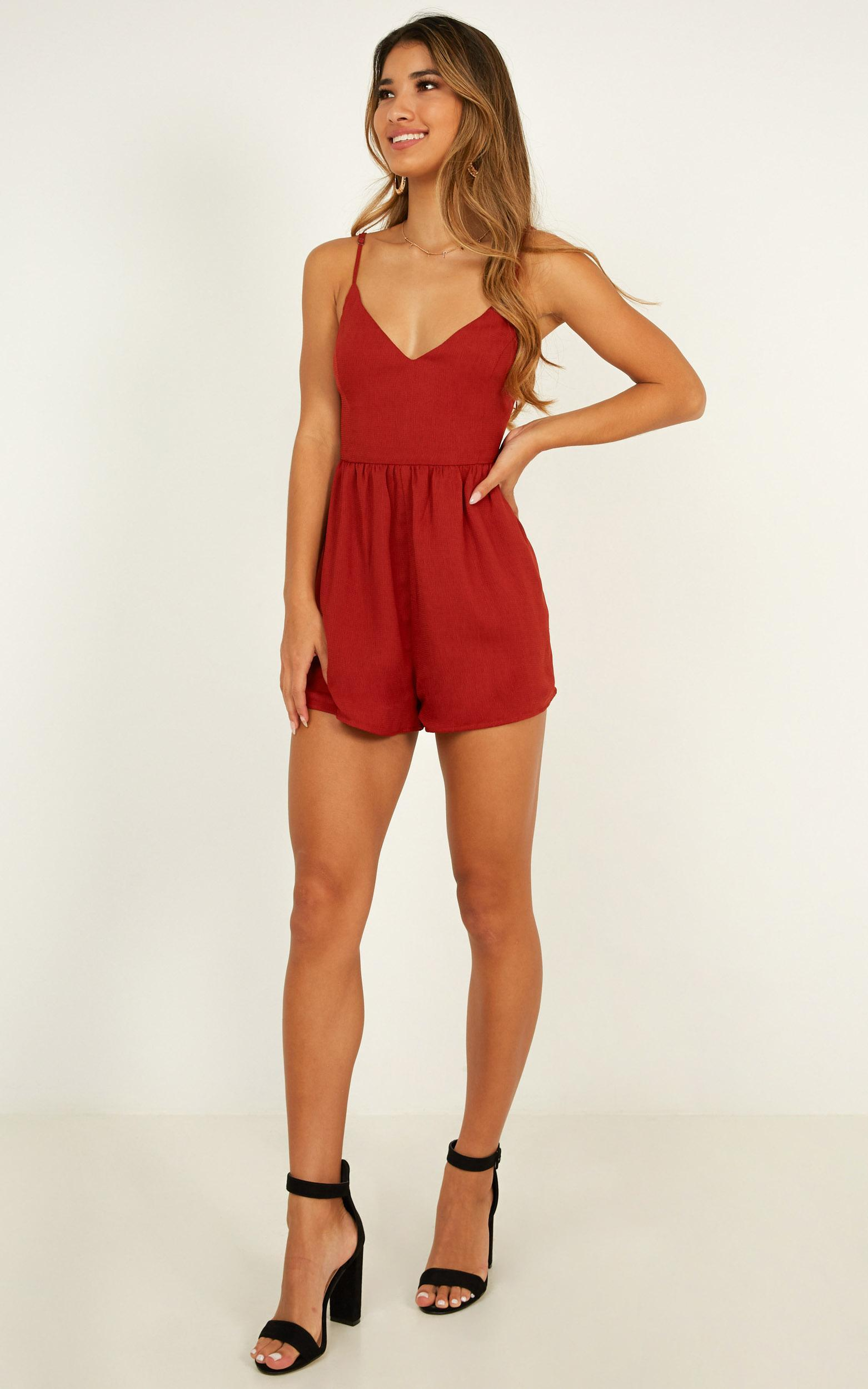 Born and Raised Playsuit in rust - 20 (XXXXL), Rust, hi-res image number null