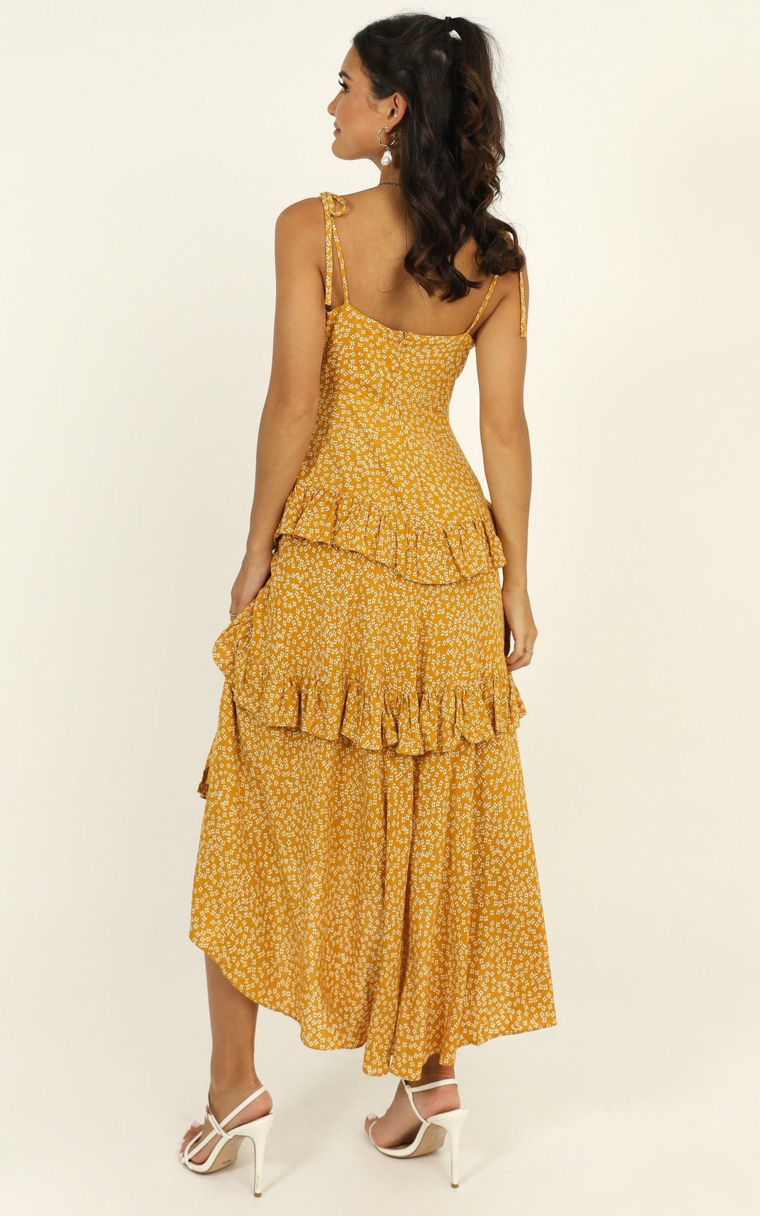 Elite Class Dress in mustard floral - 14 (XL), Mustard, hi-res image number null