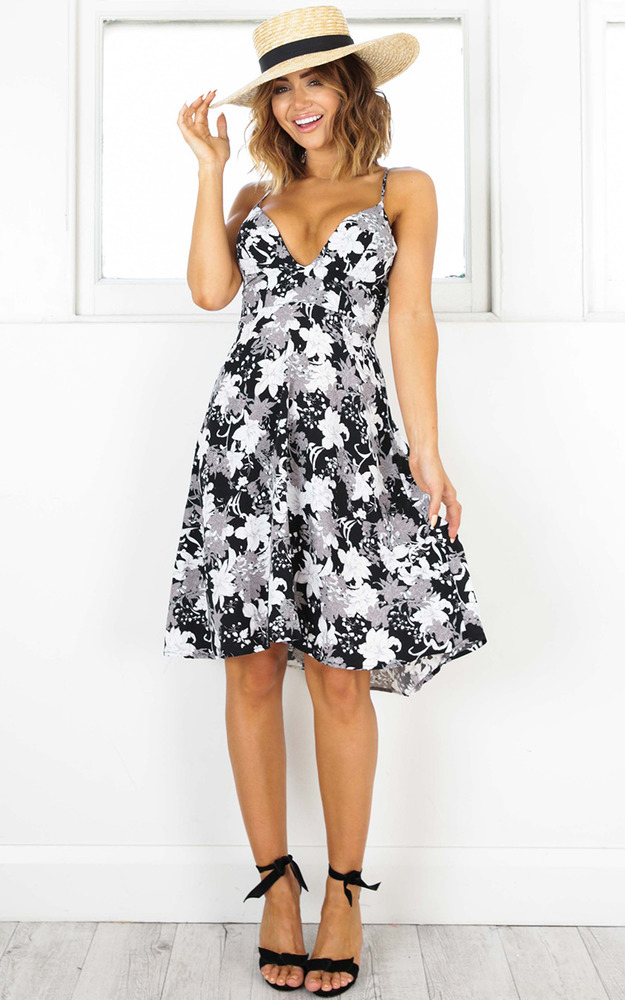 Anytime Anywhere dress in black floral - 12 (L), Black, hi-res image number null