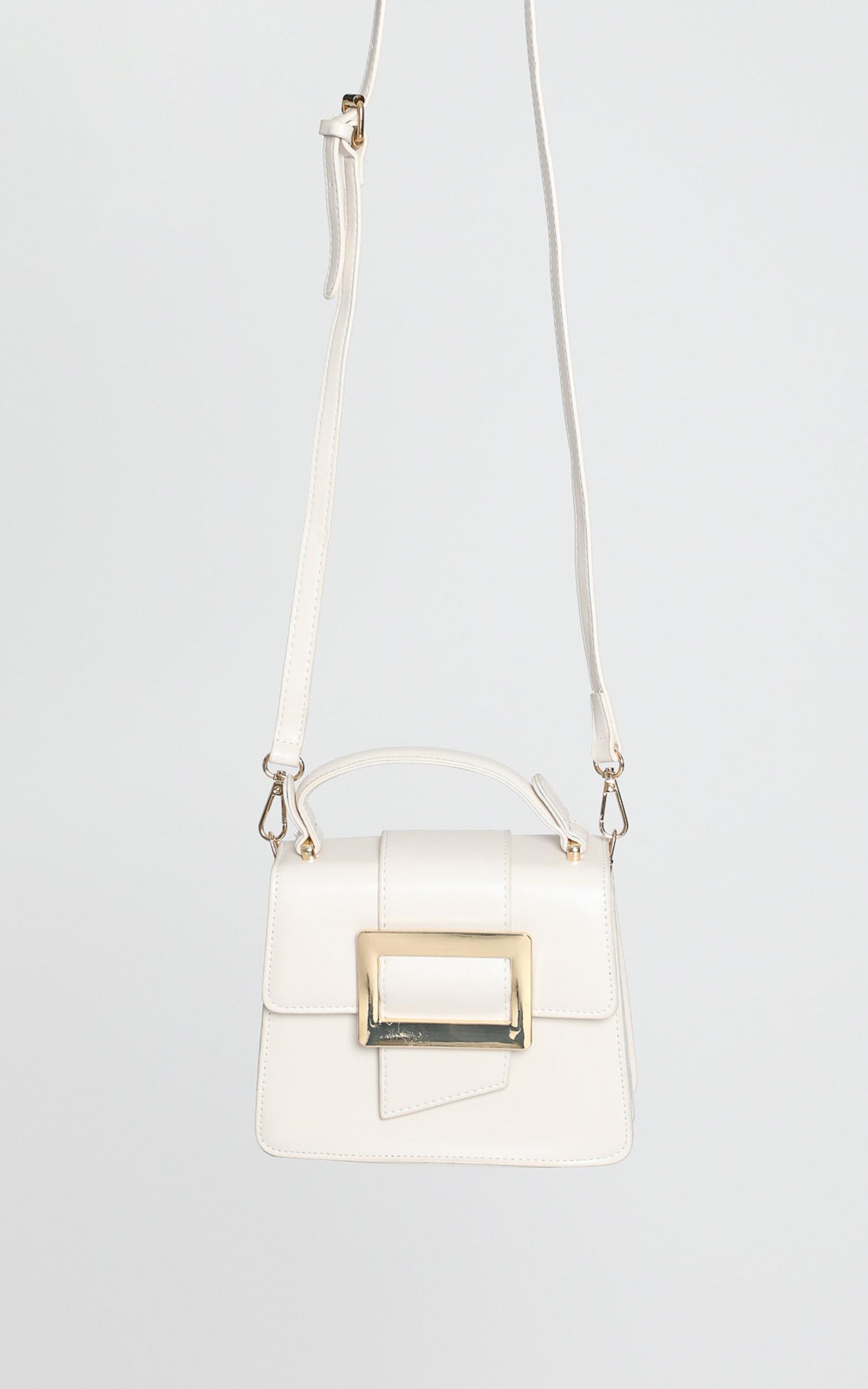 In Time Buckle Sling Bag in Beige and Gold, , hi-res image number null