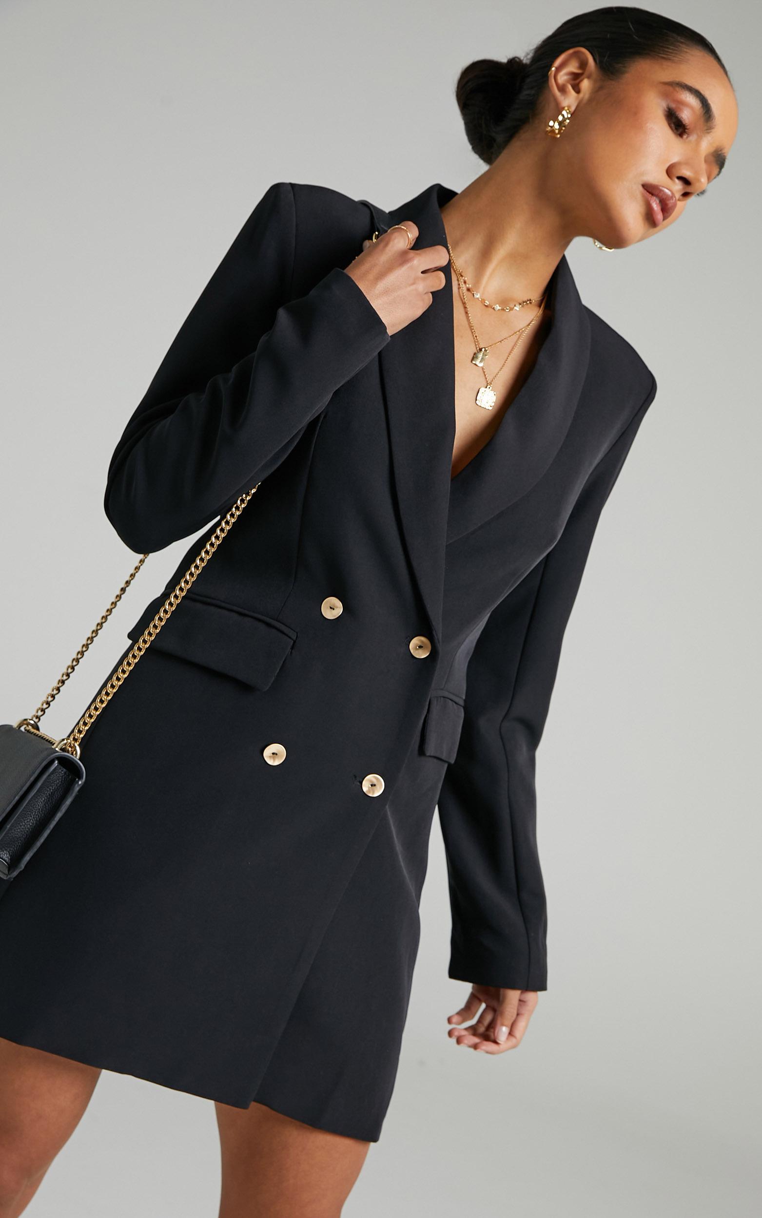 Carina Long Sleeve Blazer Dress in Black - 06, BLK1, hi-res image number null