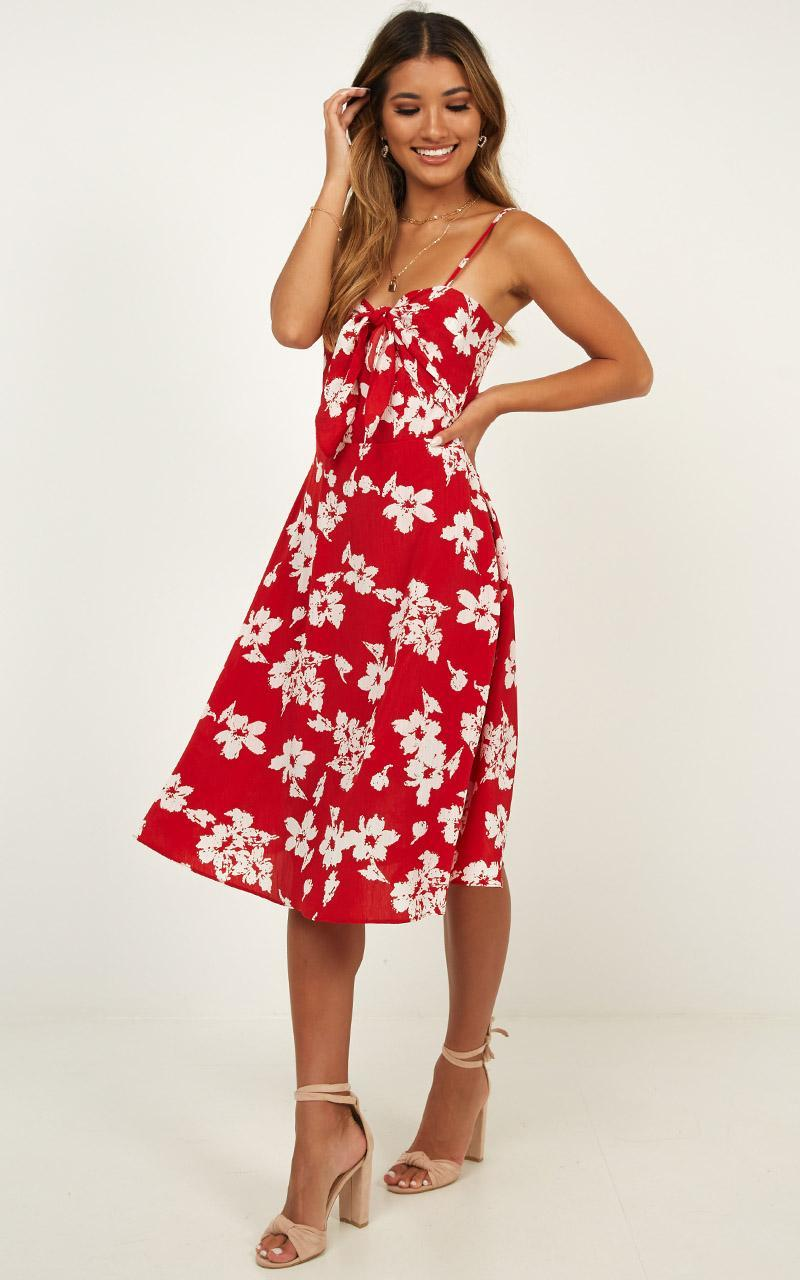 Im Grateful Midi Dress In Red Floral - 4 (XXS), Red, hi-res image number null