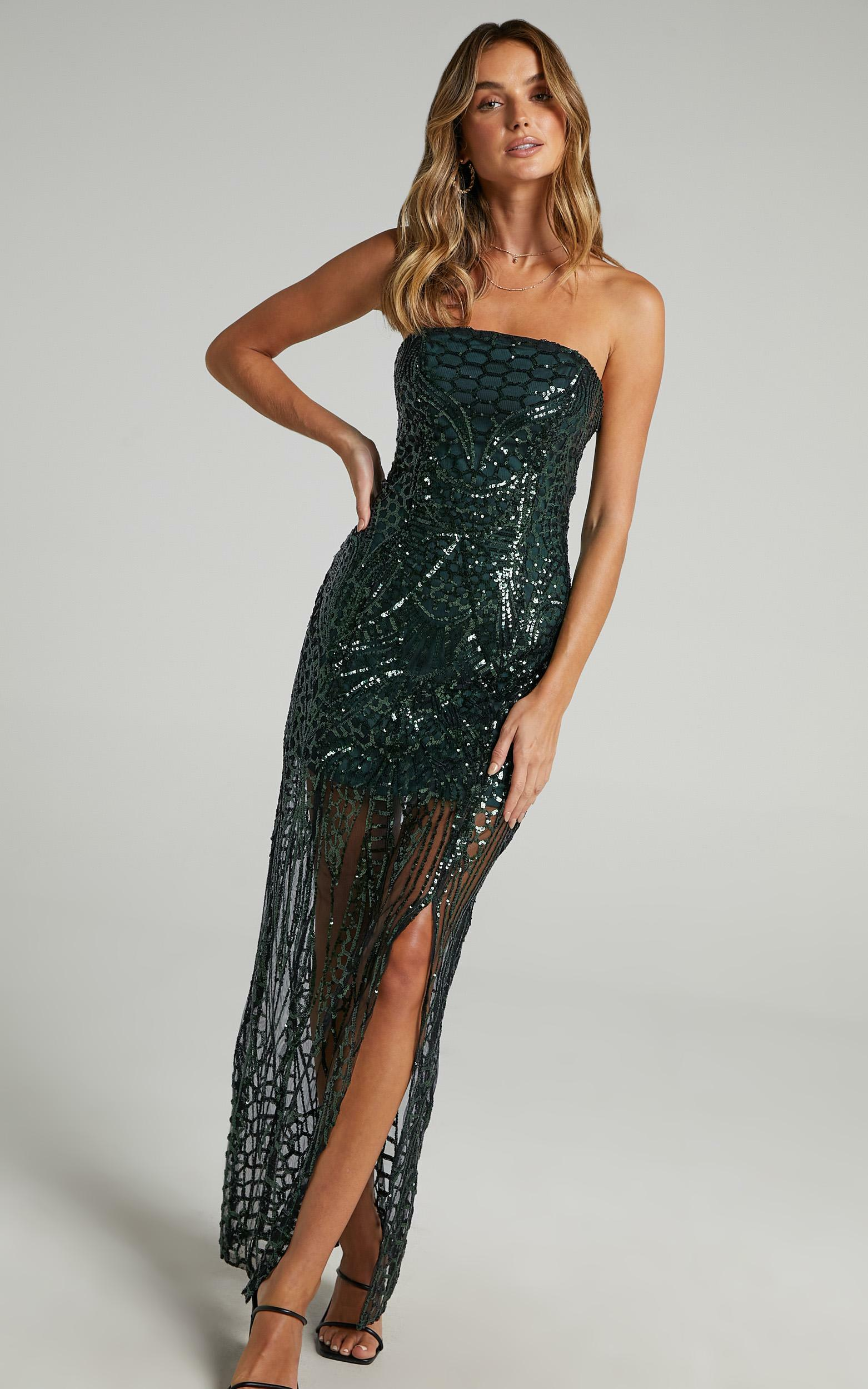American Hero Maxi Dress in Emerald Sequin - 20, GRN1, hi-res image number null