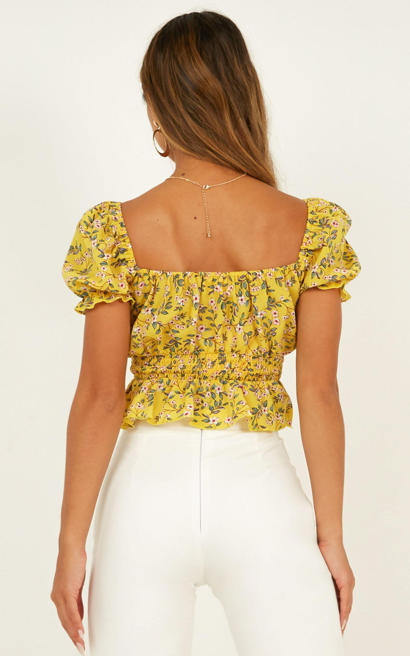 Run Away Now Top In yellow floral - 14 (XL), Yellow, hi-res image number null