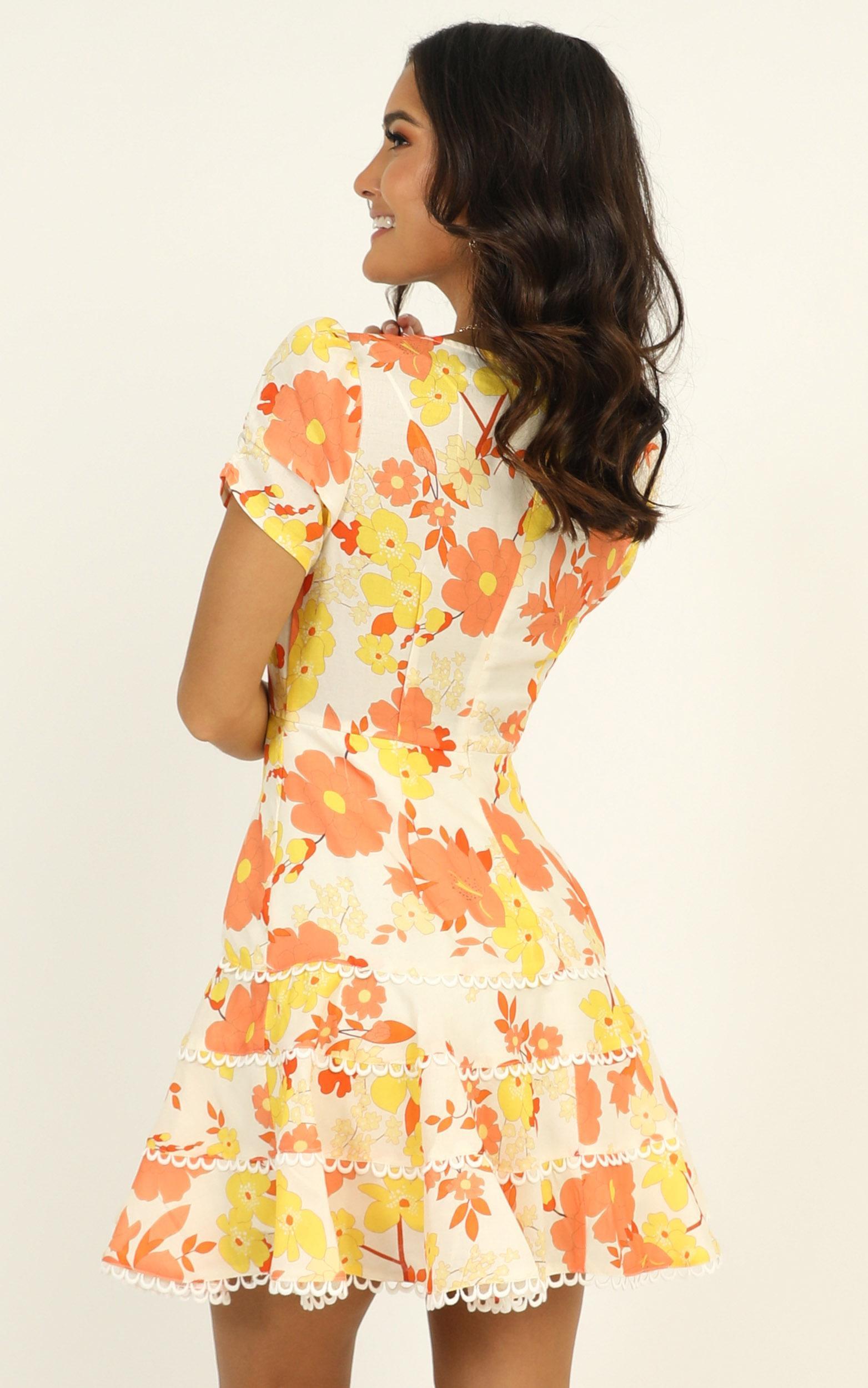 Cant Let Go Dress in orange floral - 14 (XL), Orange, hi-res image number null