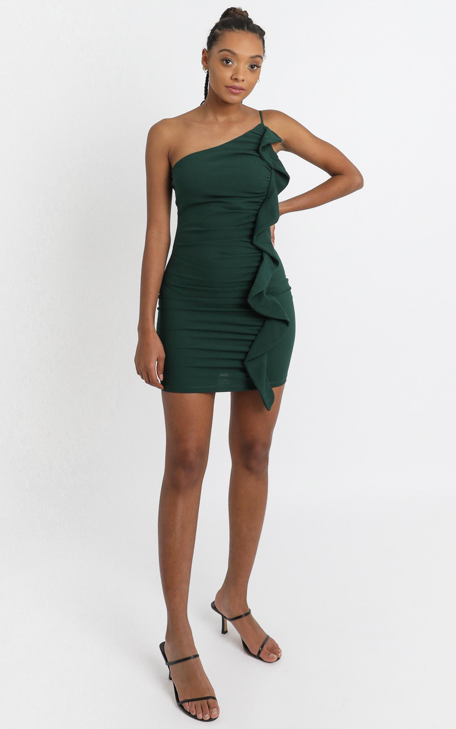 Angelina Bodycon Frill Dress in teal - 6 (XS), Blue, hi-res image number null