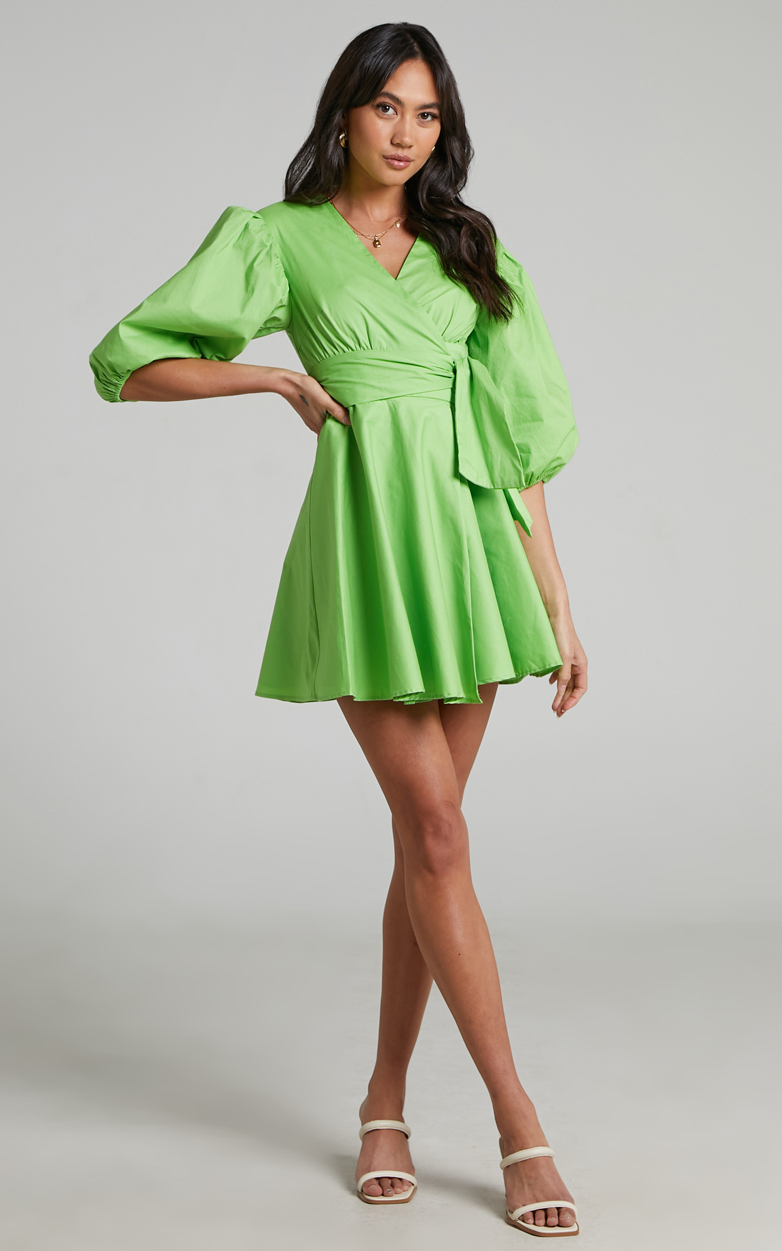 Zyla Puff Sleeve Wrap Mini Dress in Green - 04, GRN4, hi-res image number null