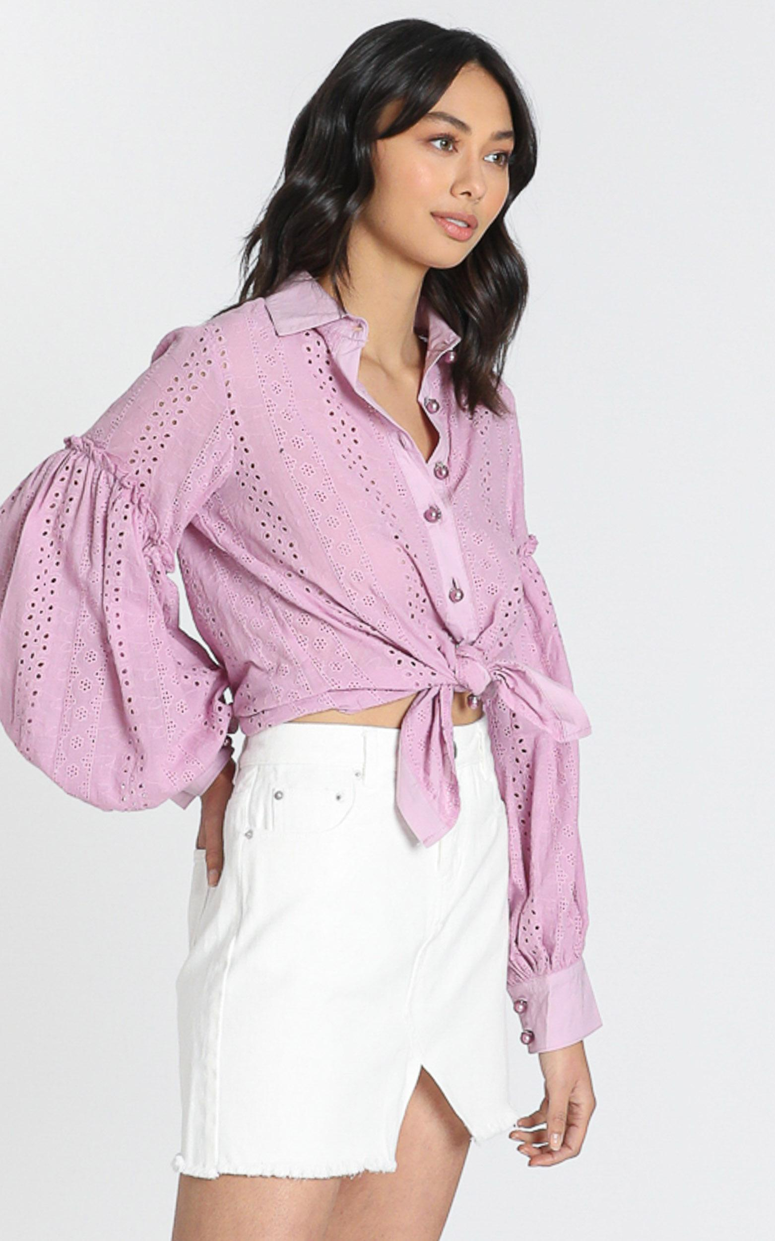 Beautiful Things embroidery shirt in lilac - 6 (XS), Purple, hi-res image number null