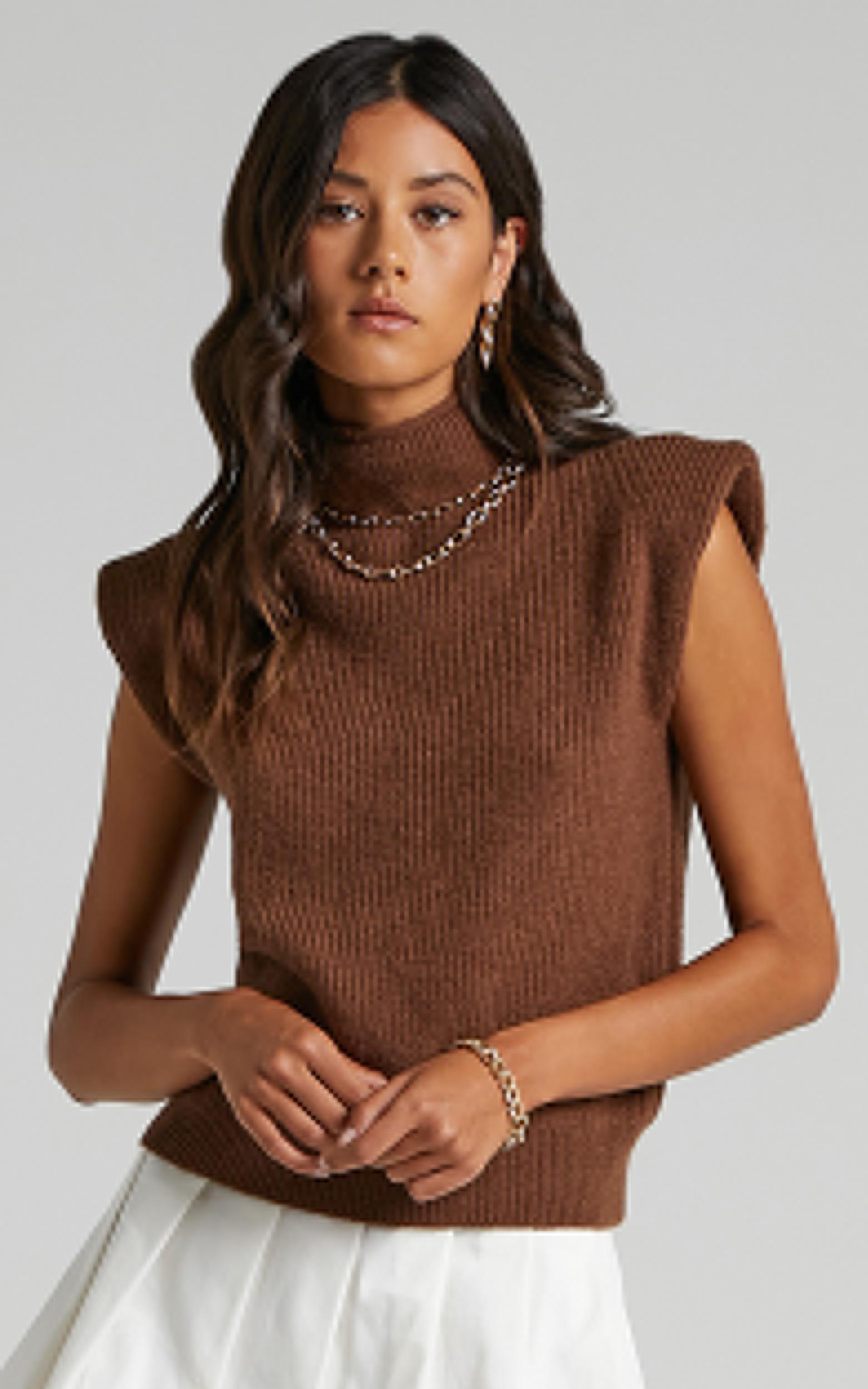 Crawford Knit Vest in Chocolate - 08, BRN2, hi-res image number null
