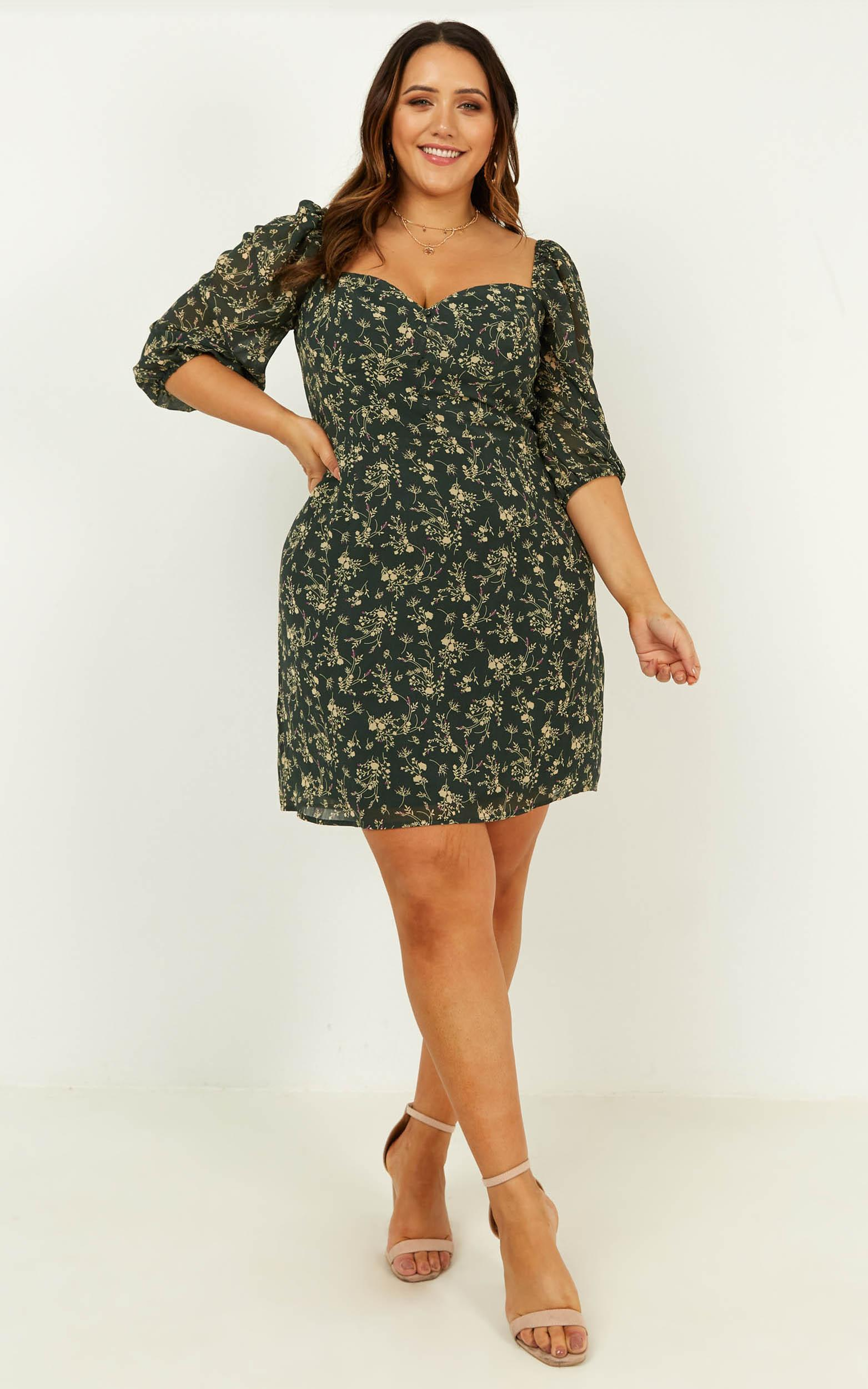 Couldn't Be Happier Dress in emerald floral - 20 (XXXXL), Green, hi-res image number null