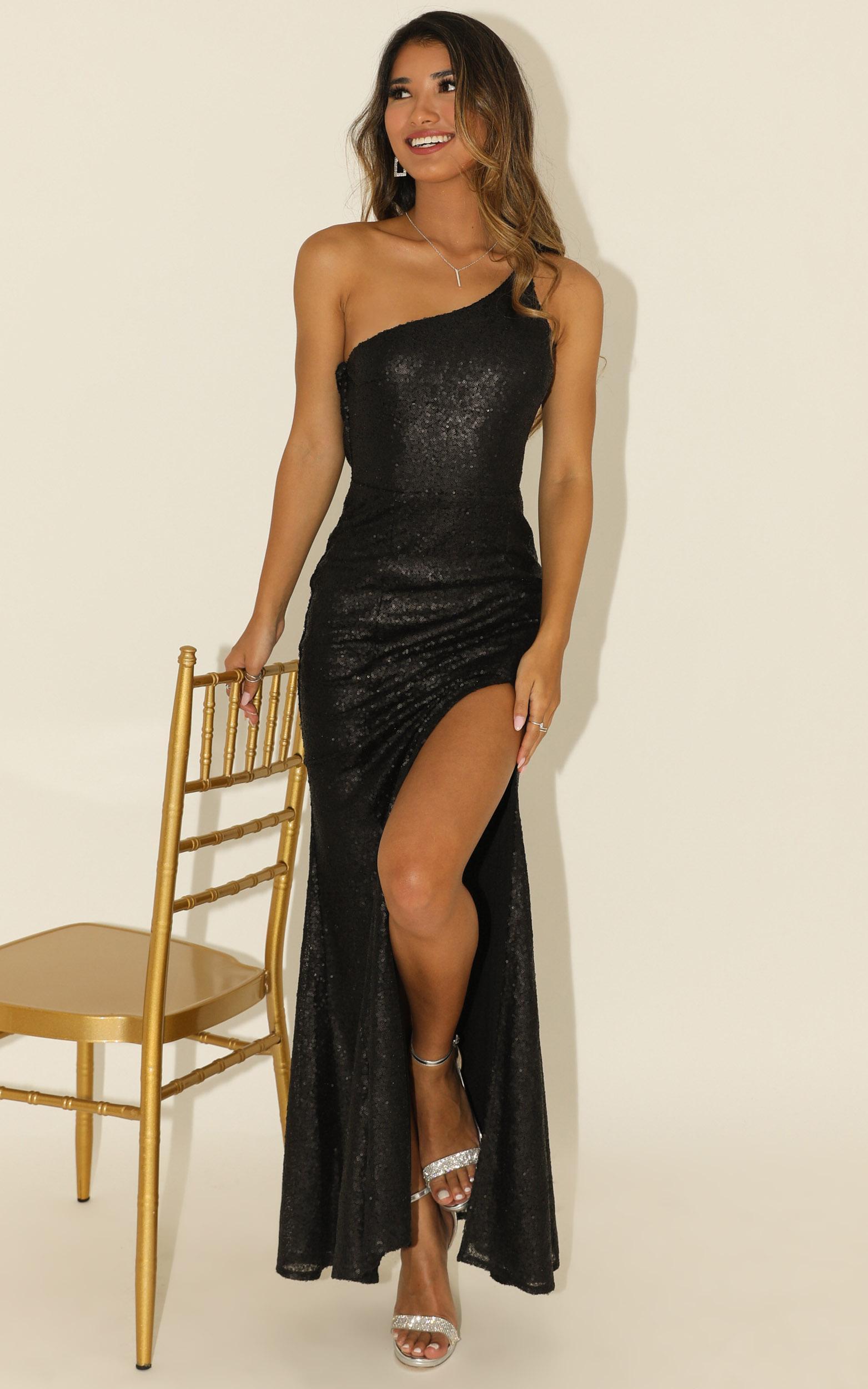Started Singing dress in black matte sequin - 20 (XXXXL), Black, hi-res image number null