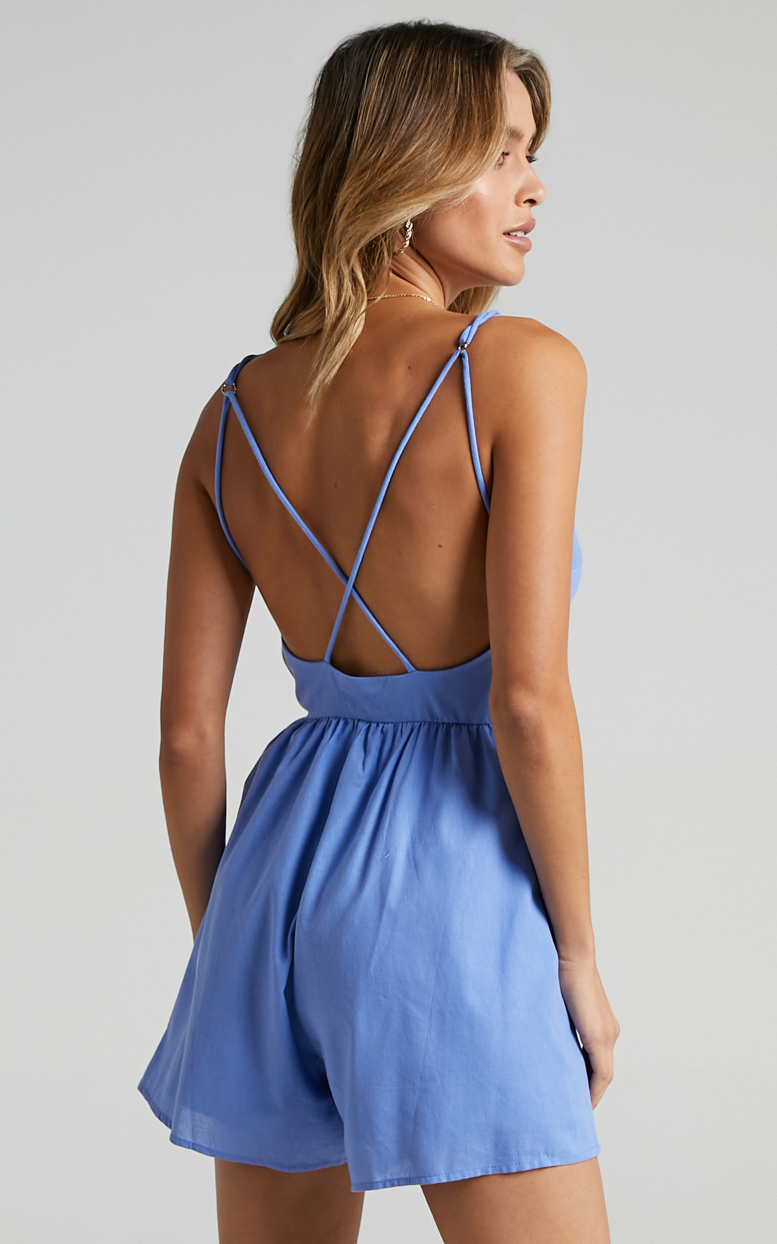 Therasia Playsuit in Blue - 6 (XS), Blue, hi-res image number null