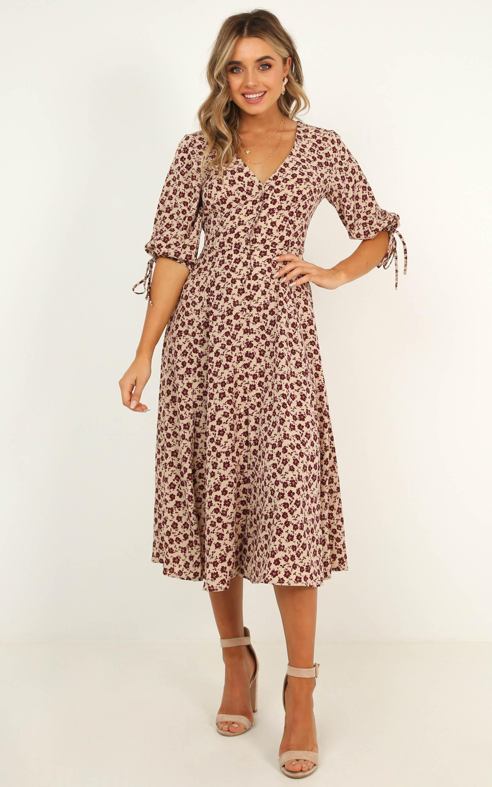 Tonal Feel Dress in burgundy floral - 20 (XXXXL), Wine, hi-res image number null