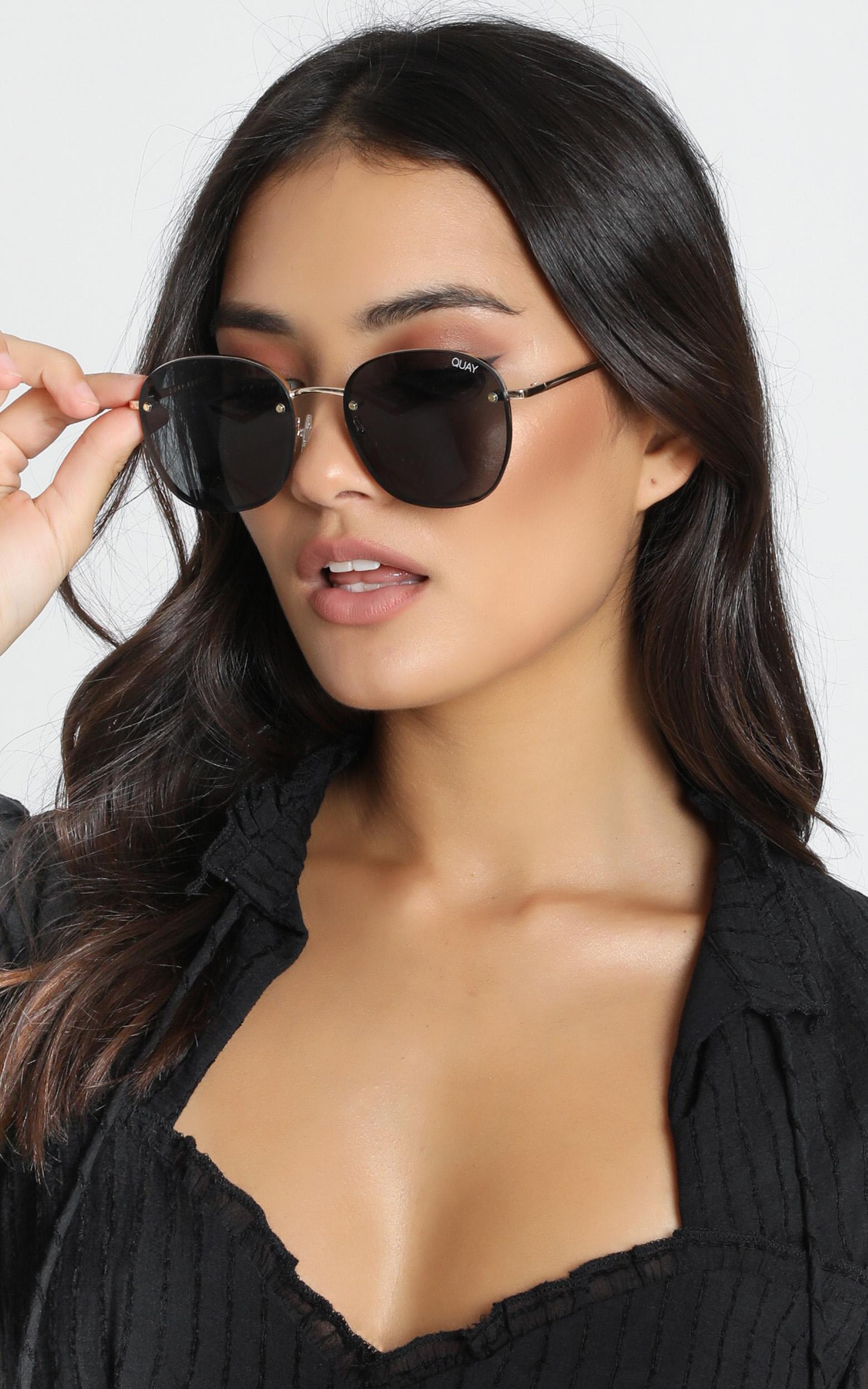 Quay - Jezabell Rimless Sunglasses In Gold And Smoke Lens, , hi-res image number null