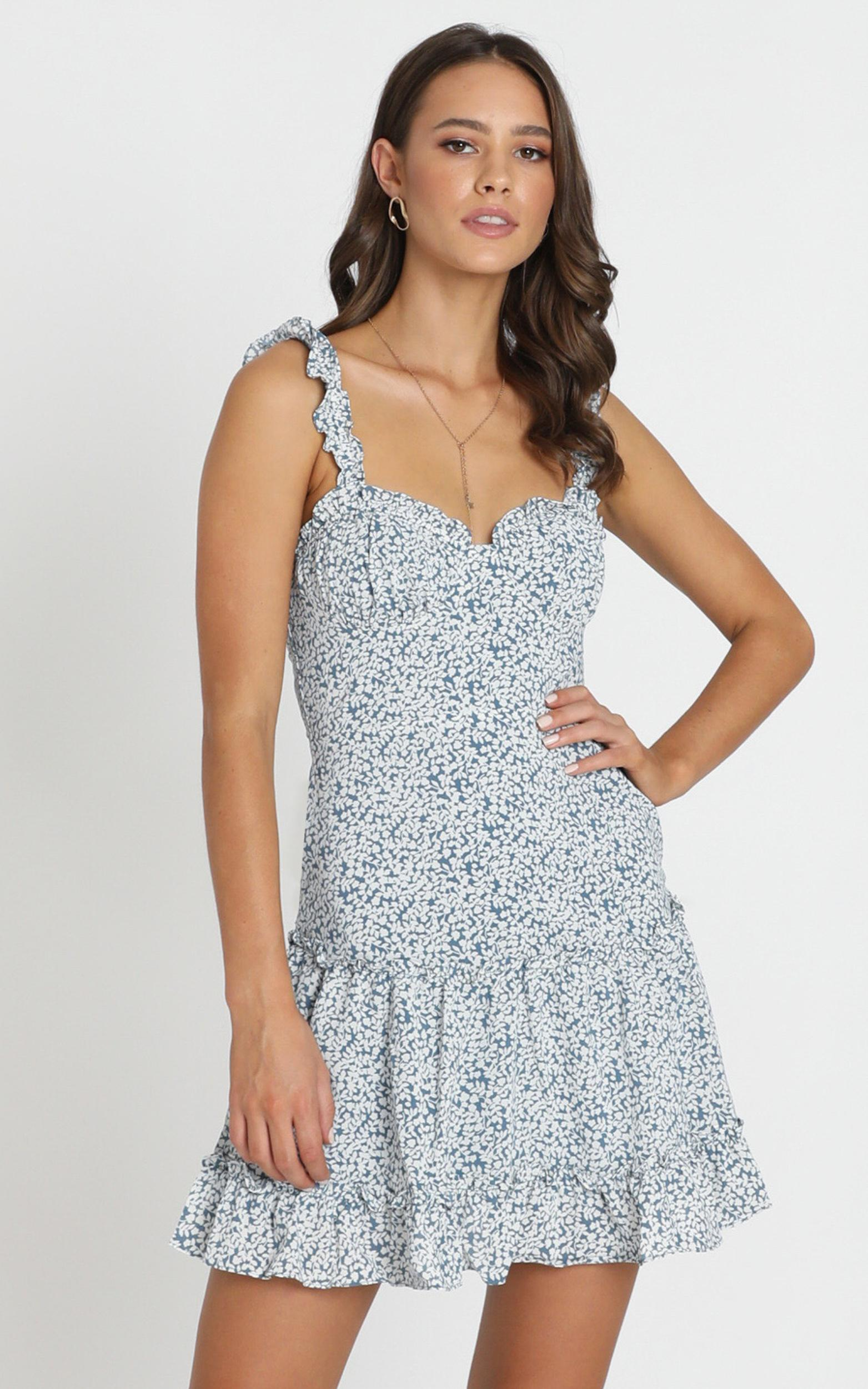 Love In A Mist Dress In Blue Floral - 16 (XXL), Blue, hi-res image number null