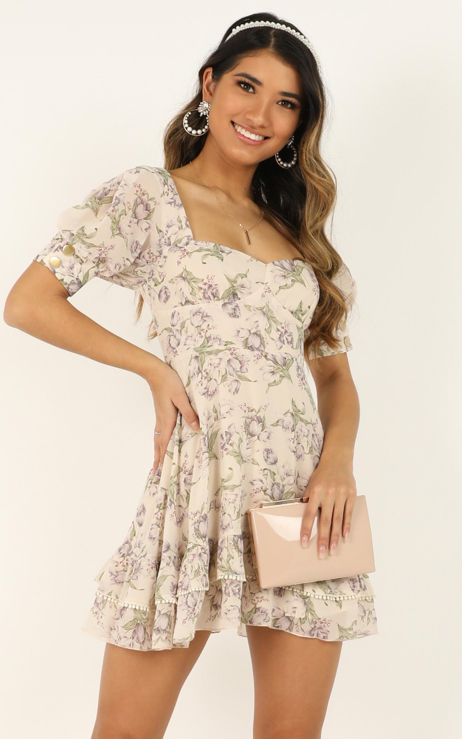 And It Makes Me Wonder Dress In cream floral - 8 (S), Cream, hi-res image number null