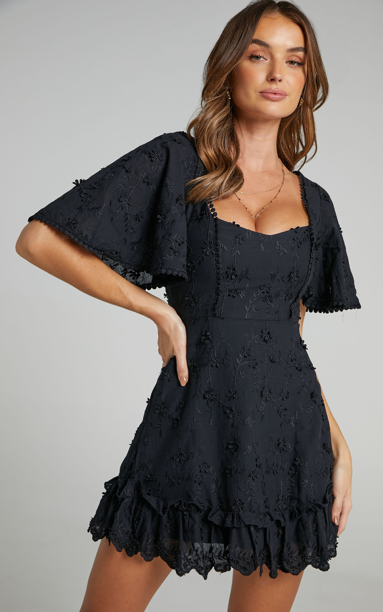 Fancy A Spritz Square Neck Mini Dress in Black Embroidery - 20, BLK1, hi-res image number null