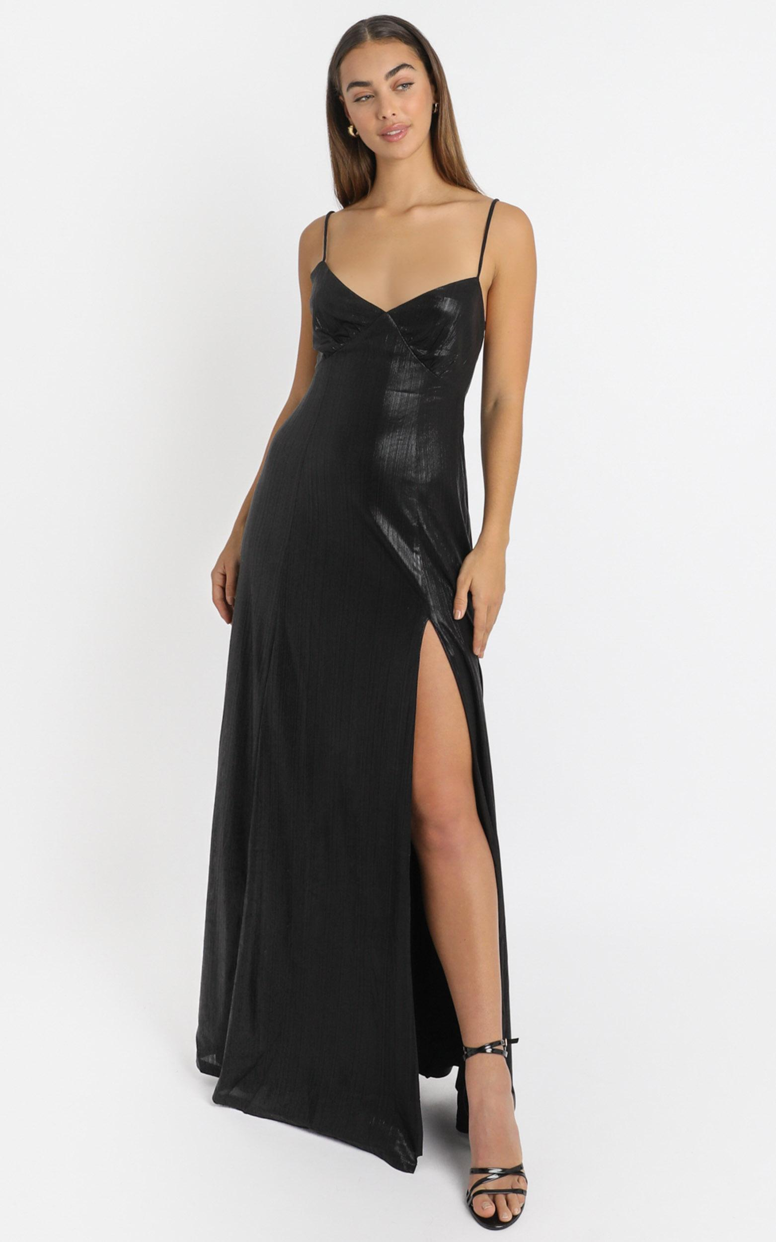 Kate Strappy Maxi Dress in black metallic - 6 (XS), Black, hi-res image number null