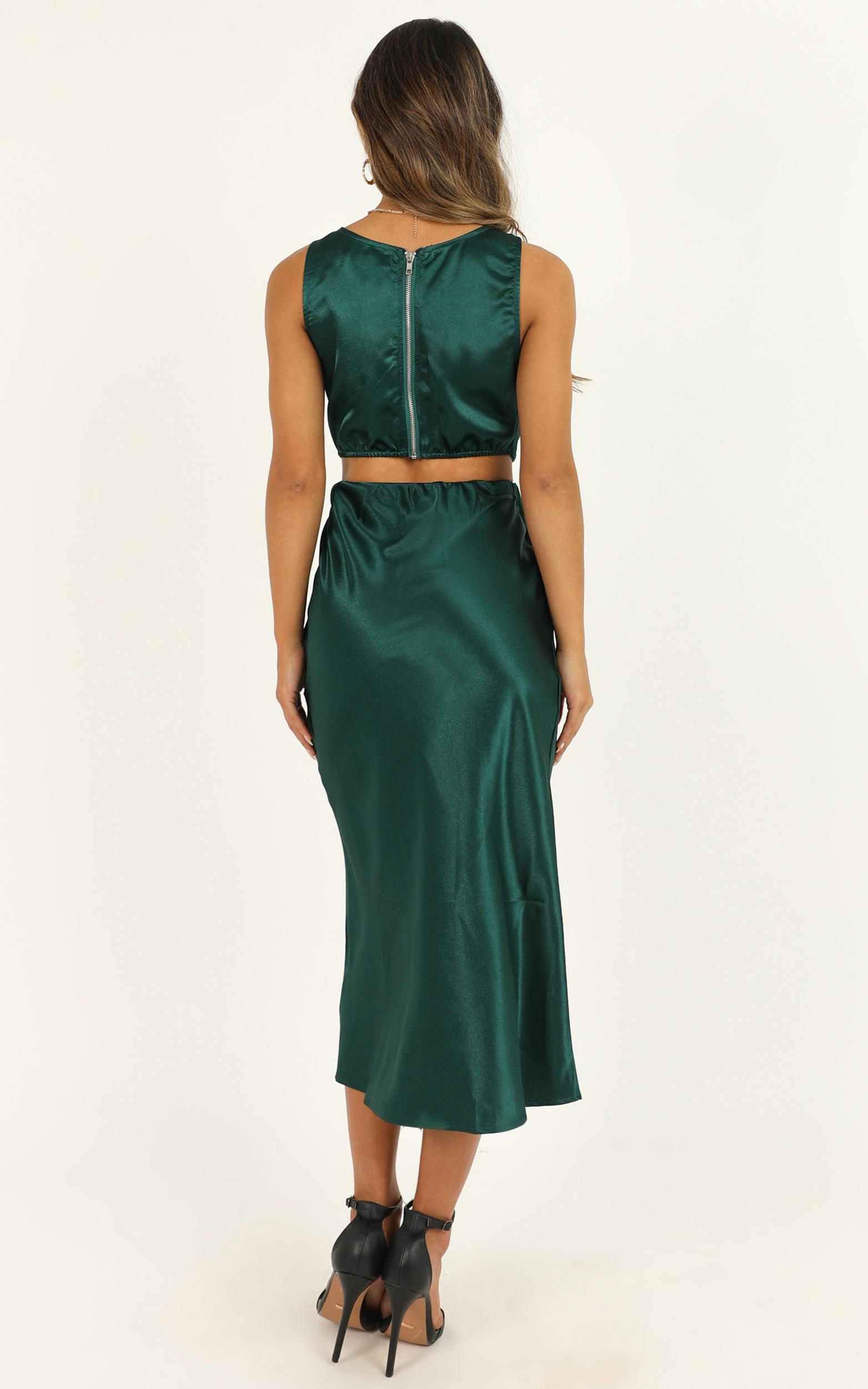 Try My Best midi dress in emerald satin - 12 (L), Green, hi-res image number null