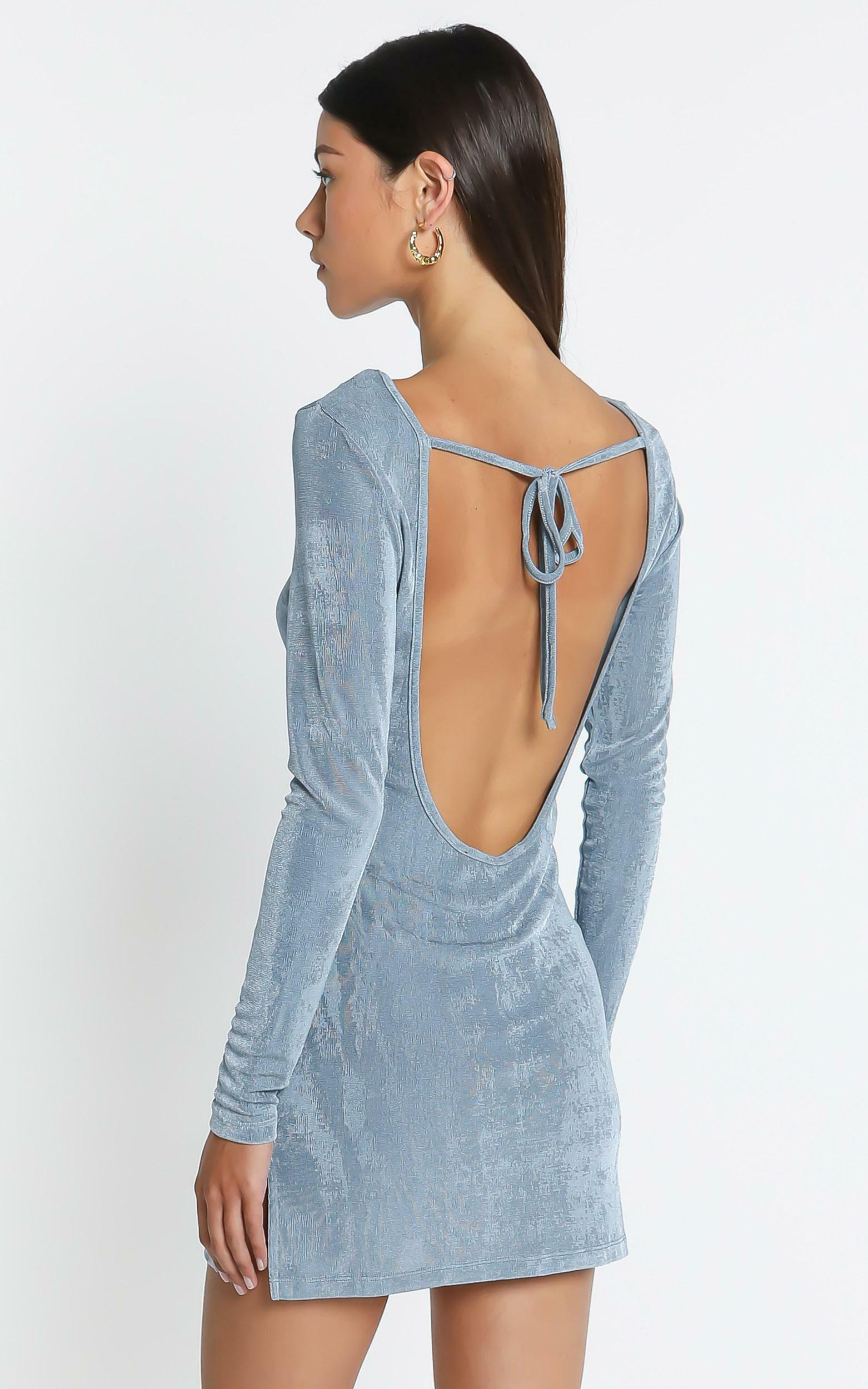 Lioness - Montana Mini Dress in Dusty Blue - 4 (XXS), BLU1, hi-res image number null