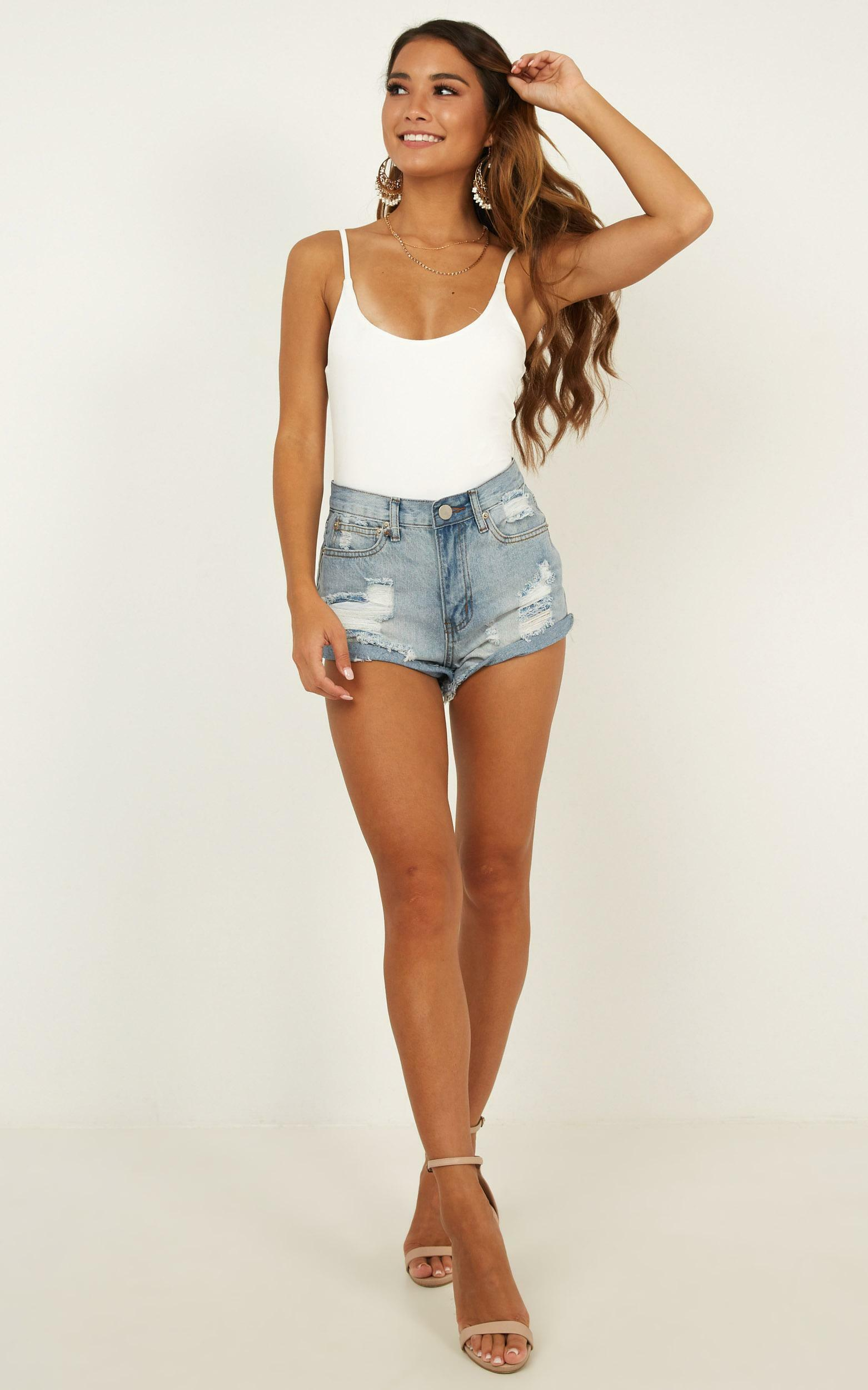 Youth In Love Denim Shorts in Light Wash - 16 (XXL), Blue, hi-res image number null