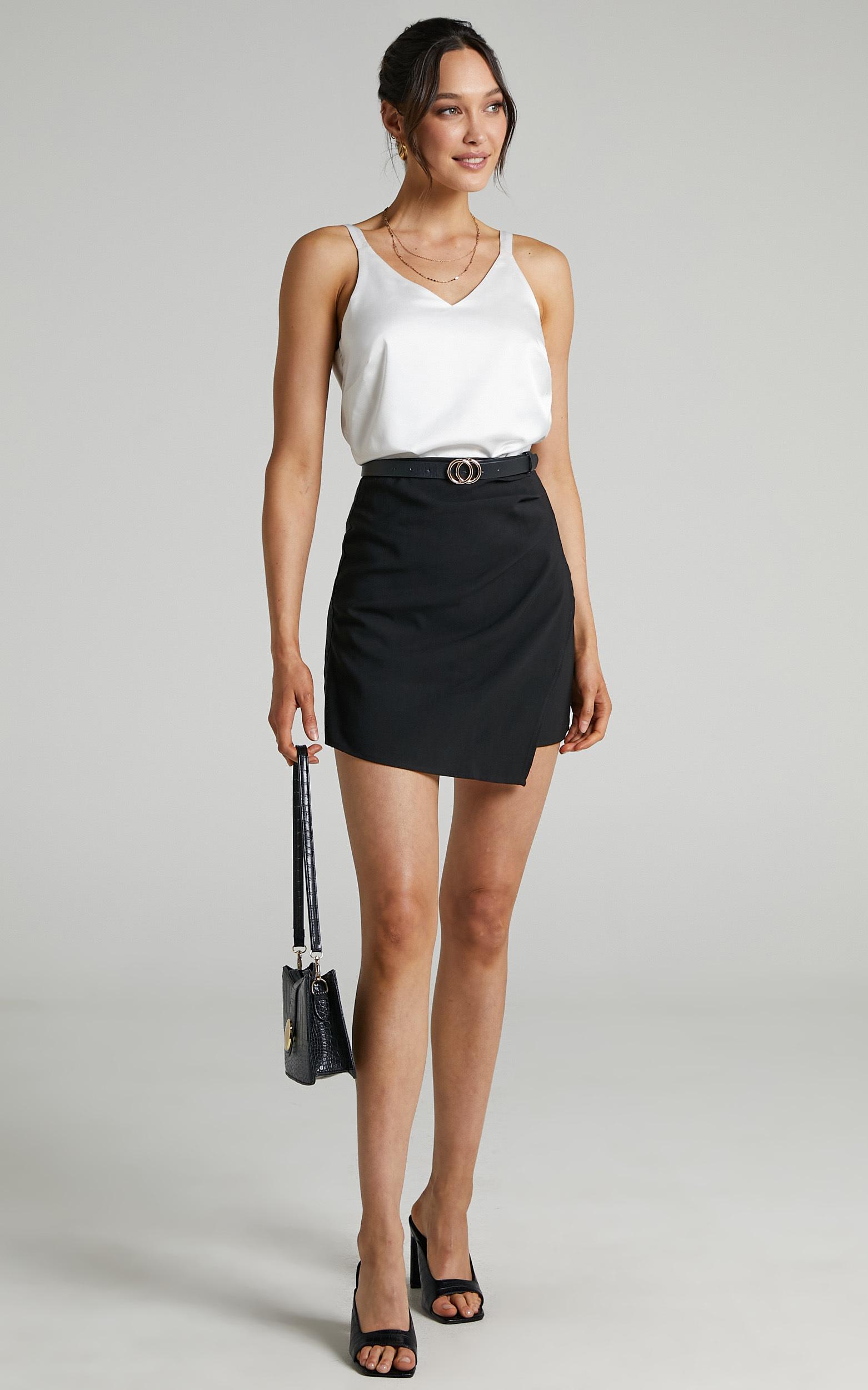 Larra Asymmetrical Pleated Skirt in Black - 04, BLK1, hi-res image number null