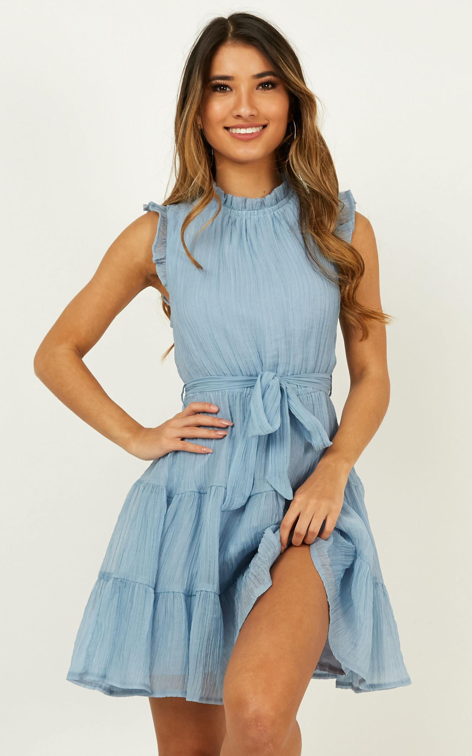 Stop To Think Dress In Blue - 16 (XXL), Blue, hi-res image number null