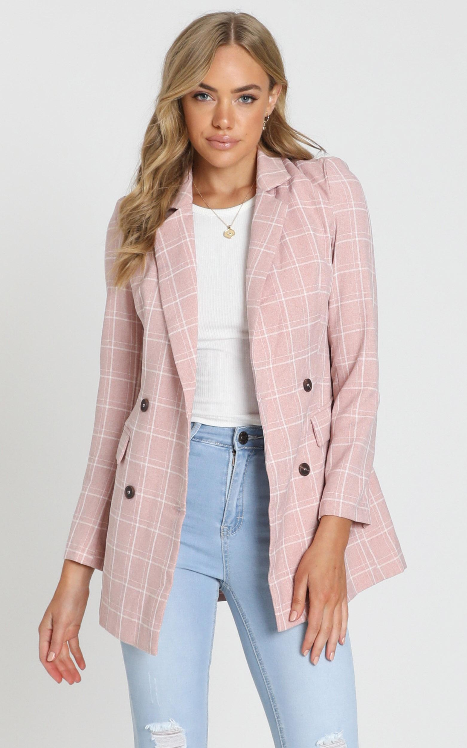 Sort It Out Blazer in blush check - 20 (XXXXL), Blush, hi-res image number null