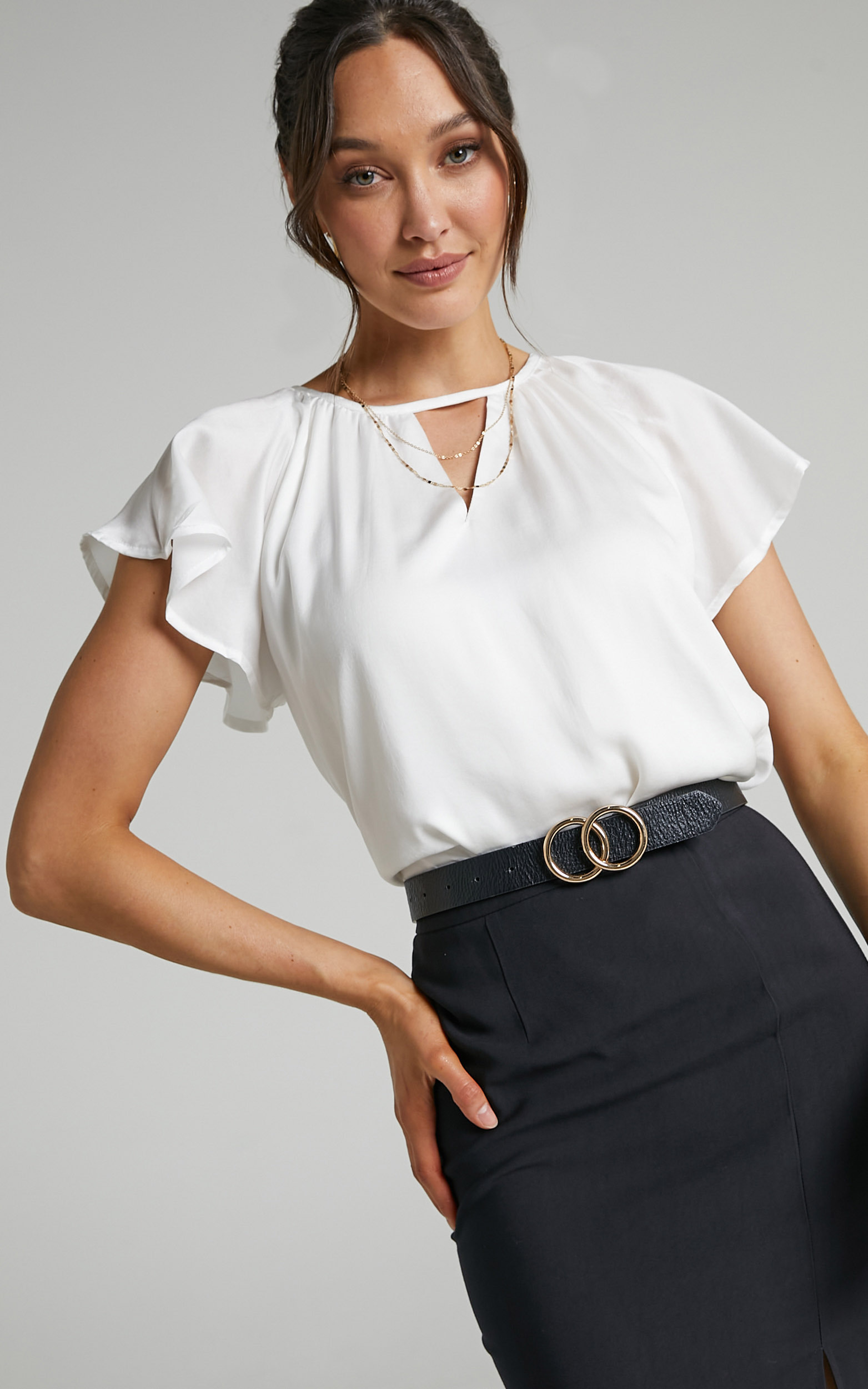 Demmi Key Hole Flutter Sleeve Top in White - 04, WHT3, hi-res image number null