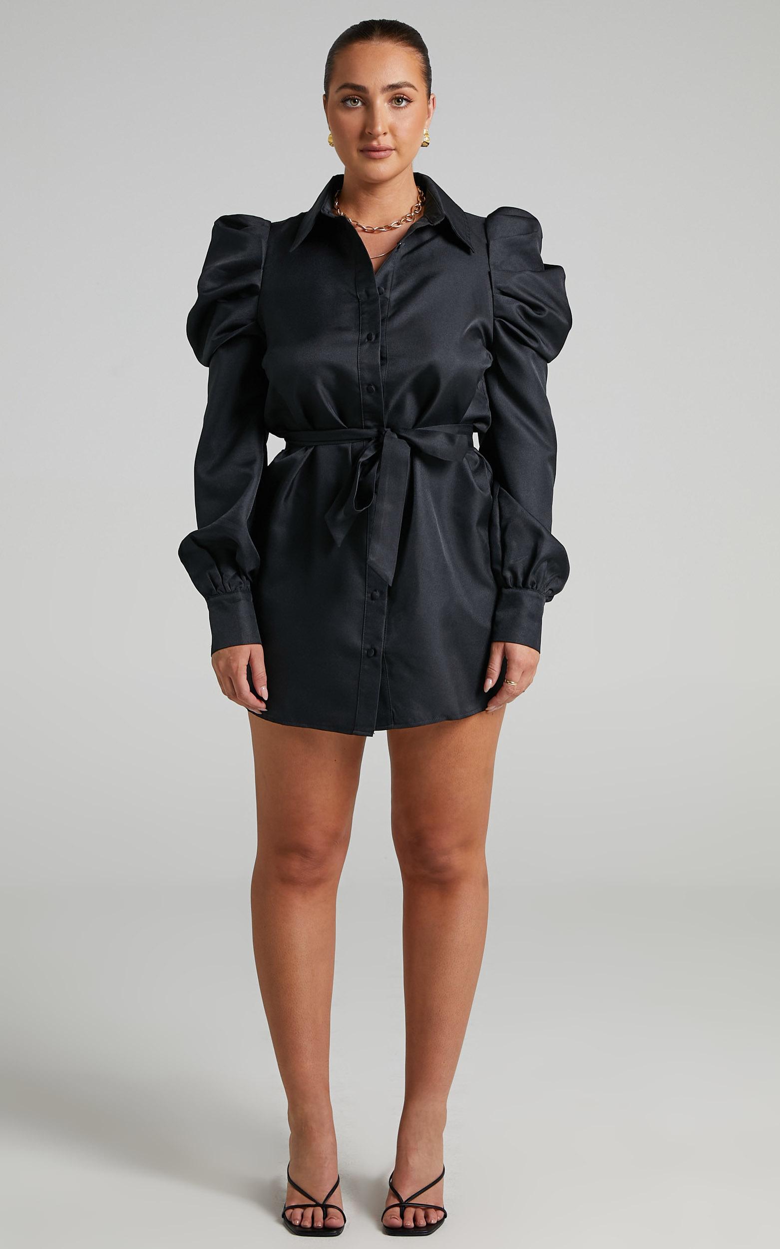 Jordie Mini Puff Sleeve Dress in Black - 06, Black, hi-res image number null