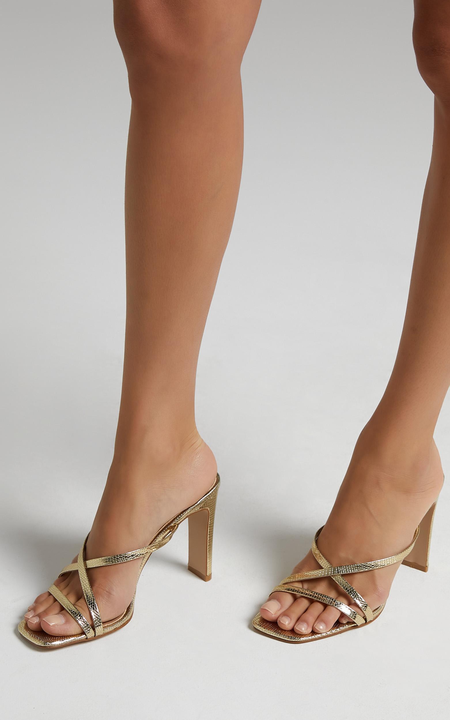 Billini - Guinevere Block Heels in Gold Metallic Scale - 5, Gold, hi-res image number null