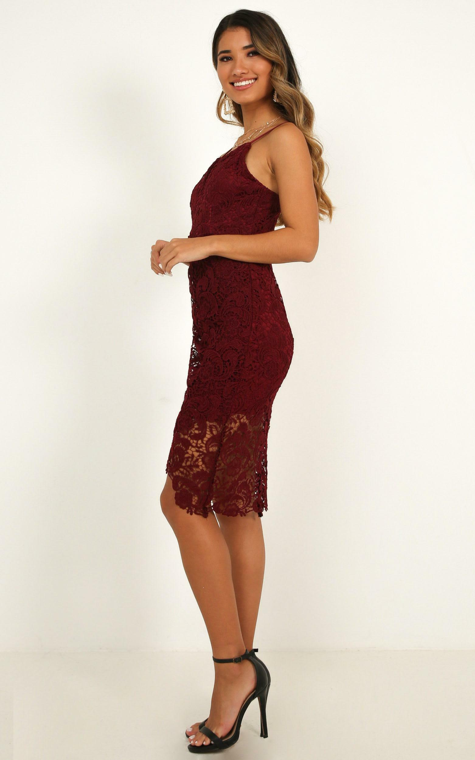 Typical Lover Dress In Wine Lace - 4 (XXS), Wine, hi-res image number null