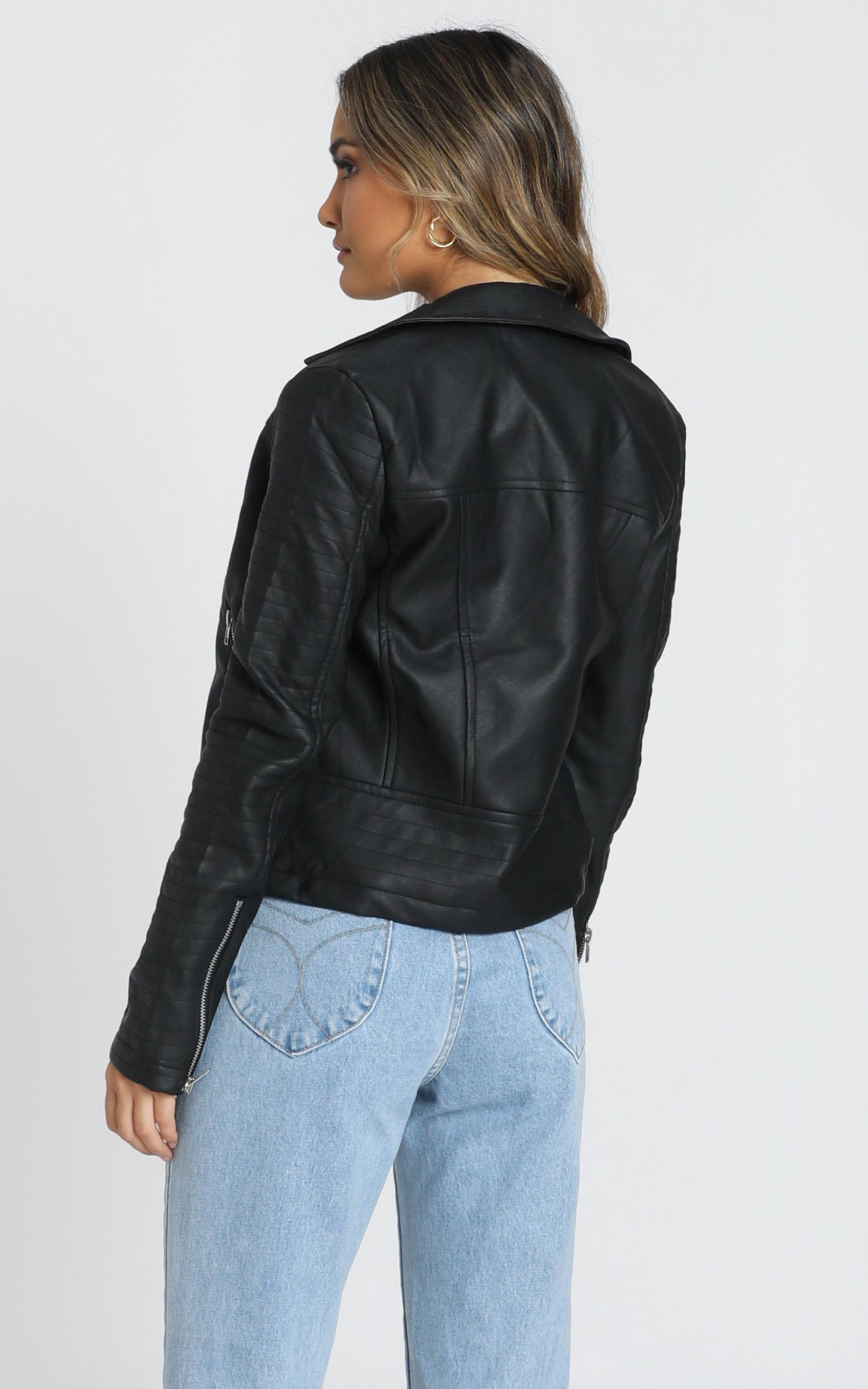 Same Language Jacket In Black Leatherette - 16 (XXL), Black, hi-res image number null