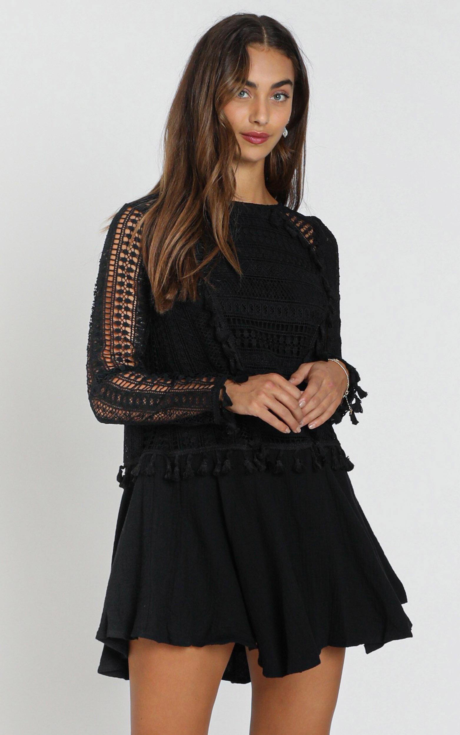 Bodhi Crochet Detail Dress in black - 6 (XS), Black, hi-res image number null